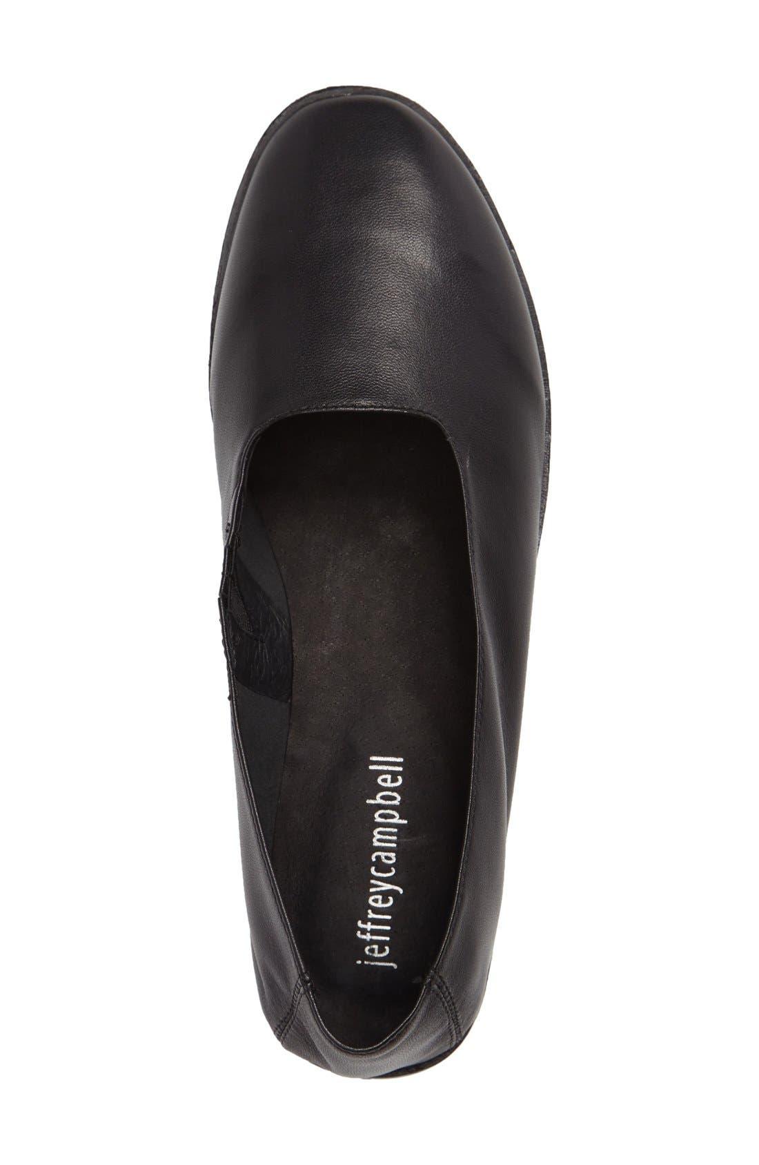 'Jordan' Flat,                             Alternate thumbnail 3, color,                             Black Leather