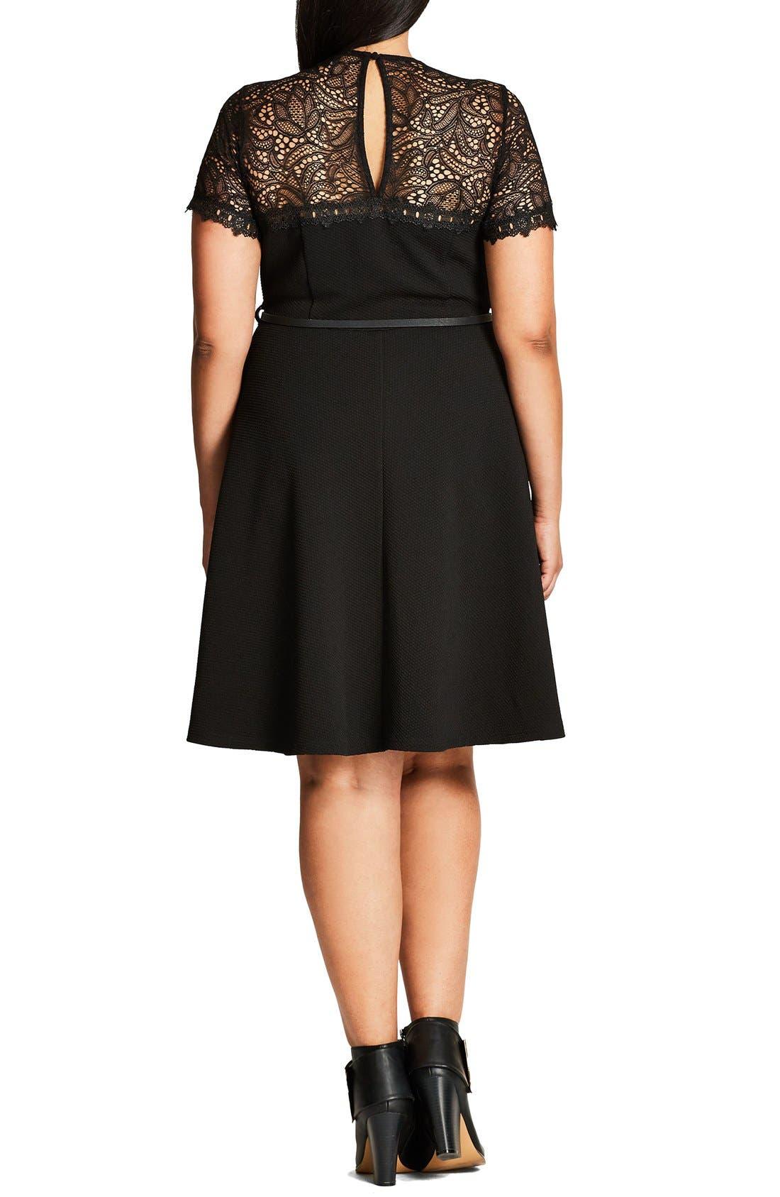 Lace Fever Dress,                             Alternate thumbnail 2, color,                             Black