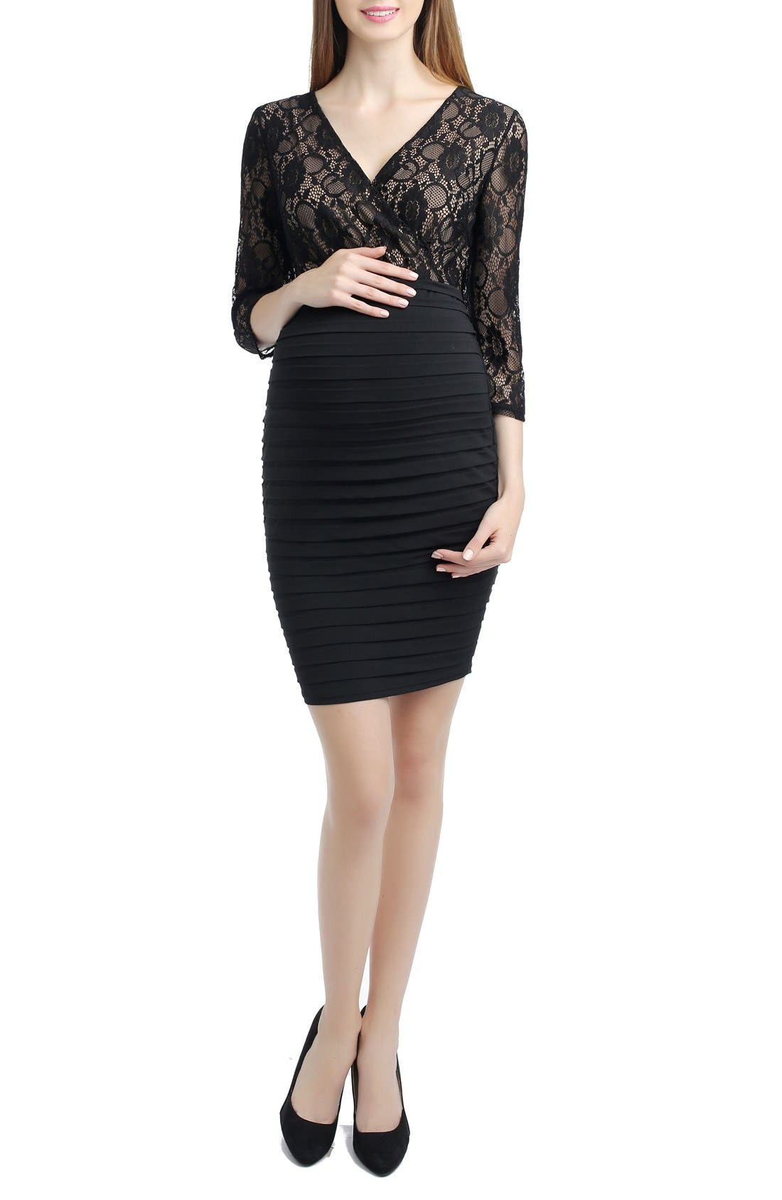 Greta Lace Maternity Dress,                             Main thumbnail 1, color,                             Black