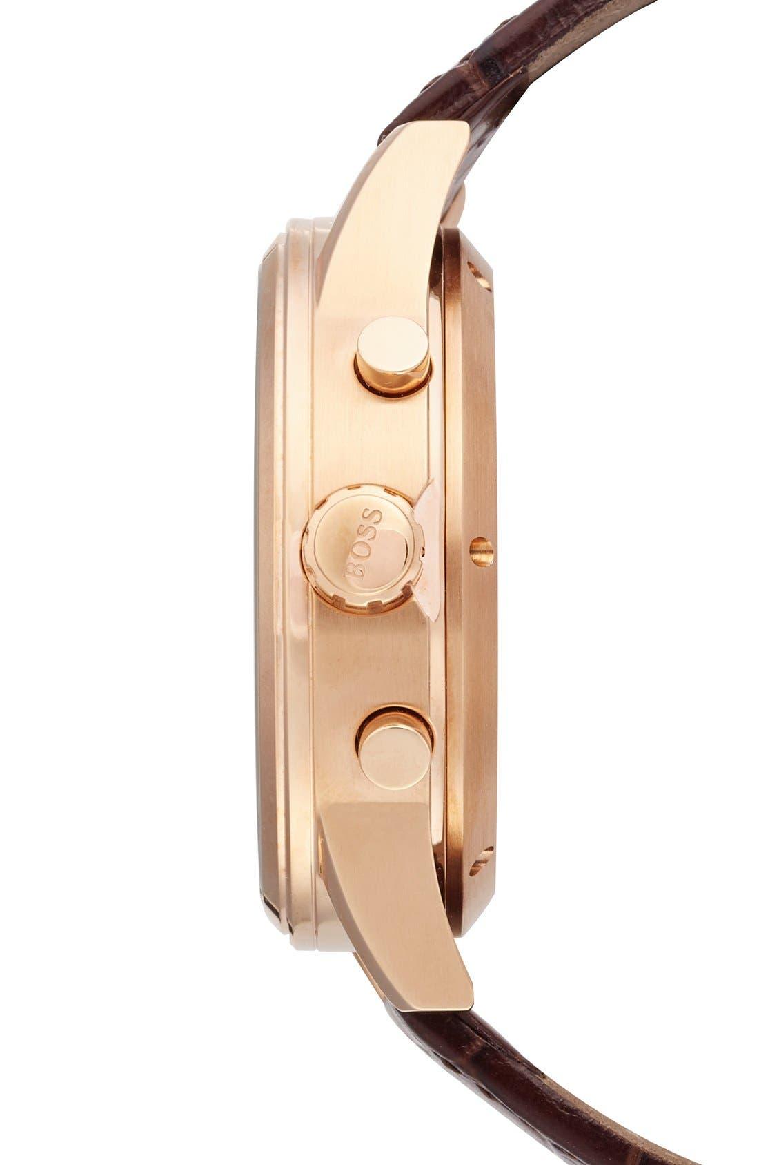 Alternate Image 5  - BOSS Classic Leather Strap Smart Watch, 44mm