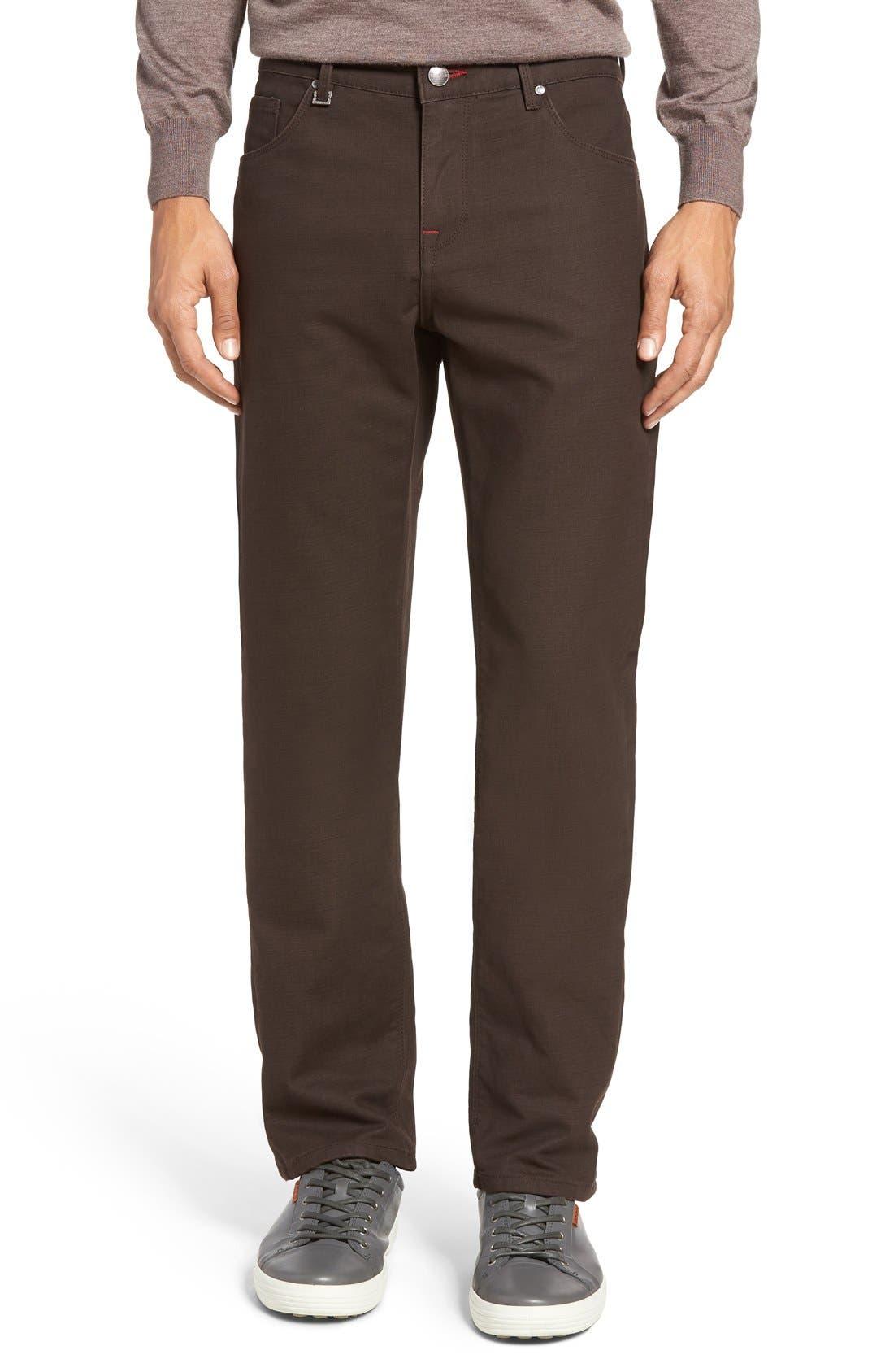 Slim Fit Five-Pocket Pants,                             Alternate thumbnail 6, color,                             Mocha