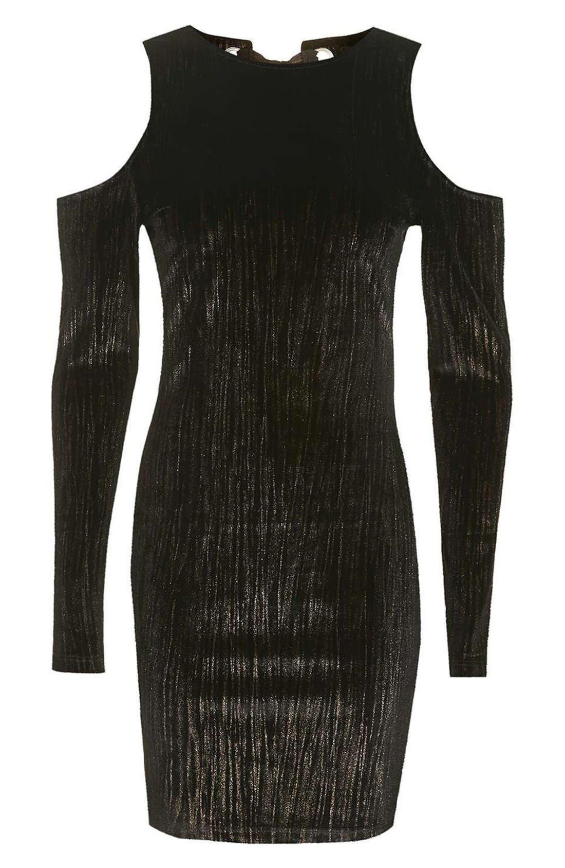 Alternate Image 4  - Topshop Cold Shoulder Metallic Velvet Dress