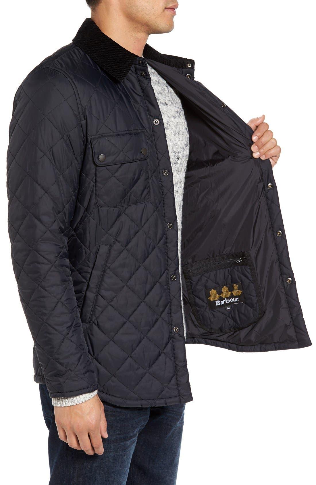 'Akenside' Regular Fit Quilted Jacket,                             Alternate thumbnail 3, color,                             Black