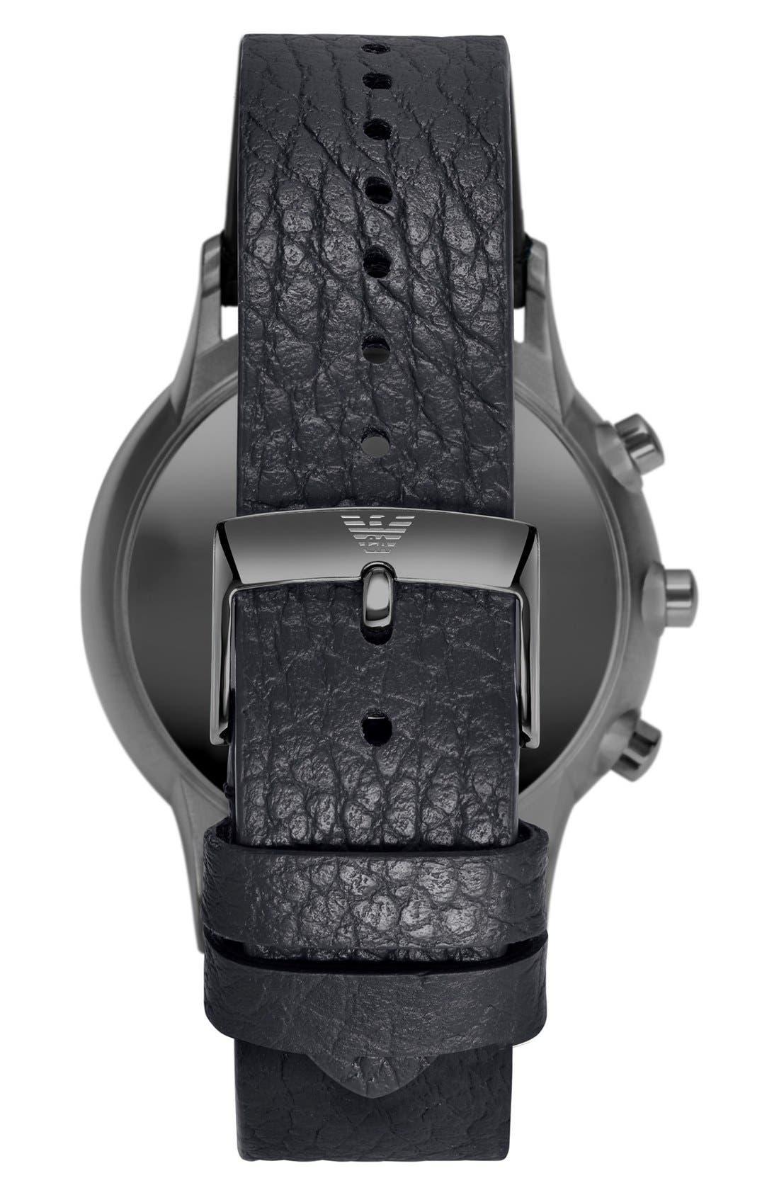 Leather Strap Hybrid Smart Watch, 43mm,                             Alternate thumbnail 2, color,                             Black/ Blue