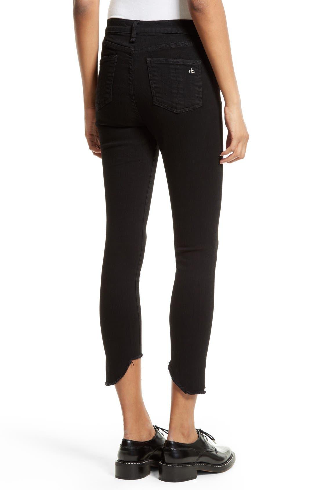 Cutoff Capri Jeans,                             Alternate thumbnail 2, color,                             Black Hampton