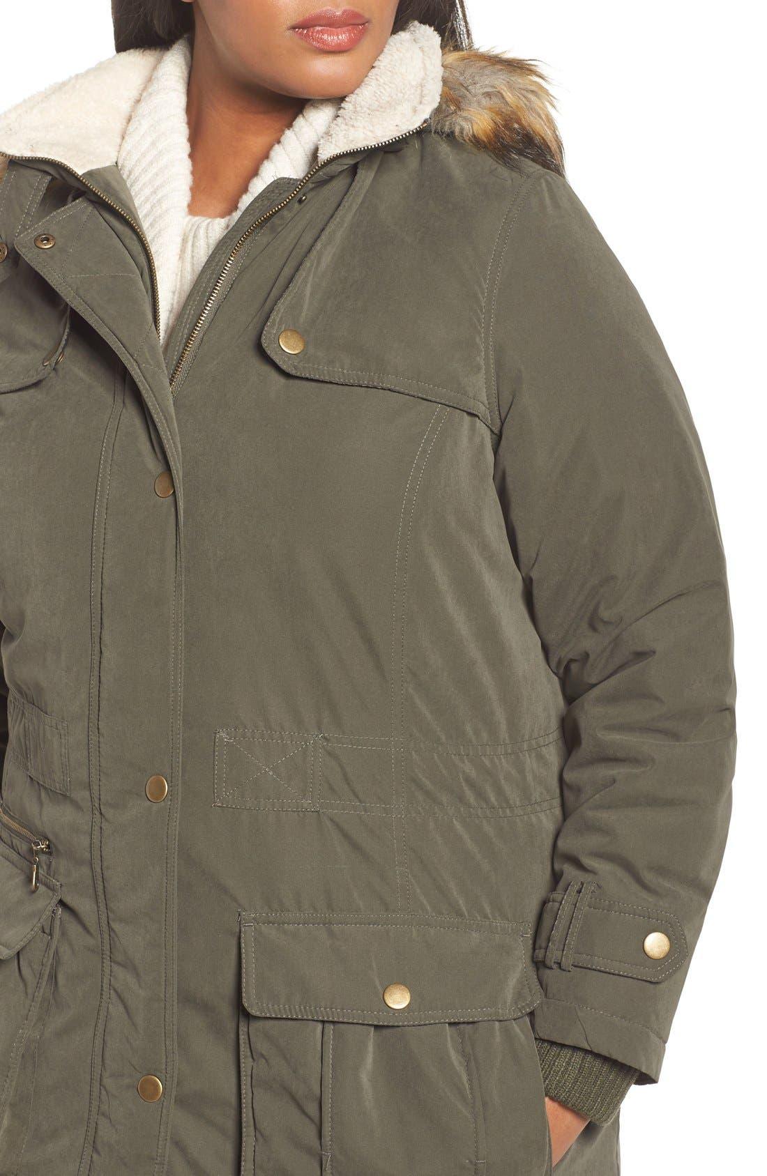 Alternate Image 4  - Halogen® Hooded Parka with Faux Fur Trim (Plus Size)