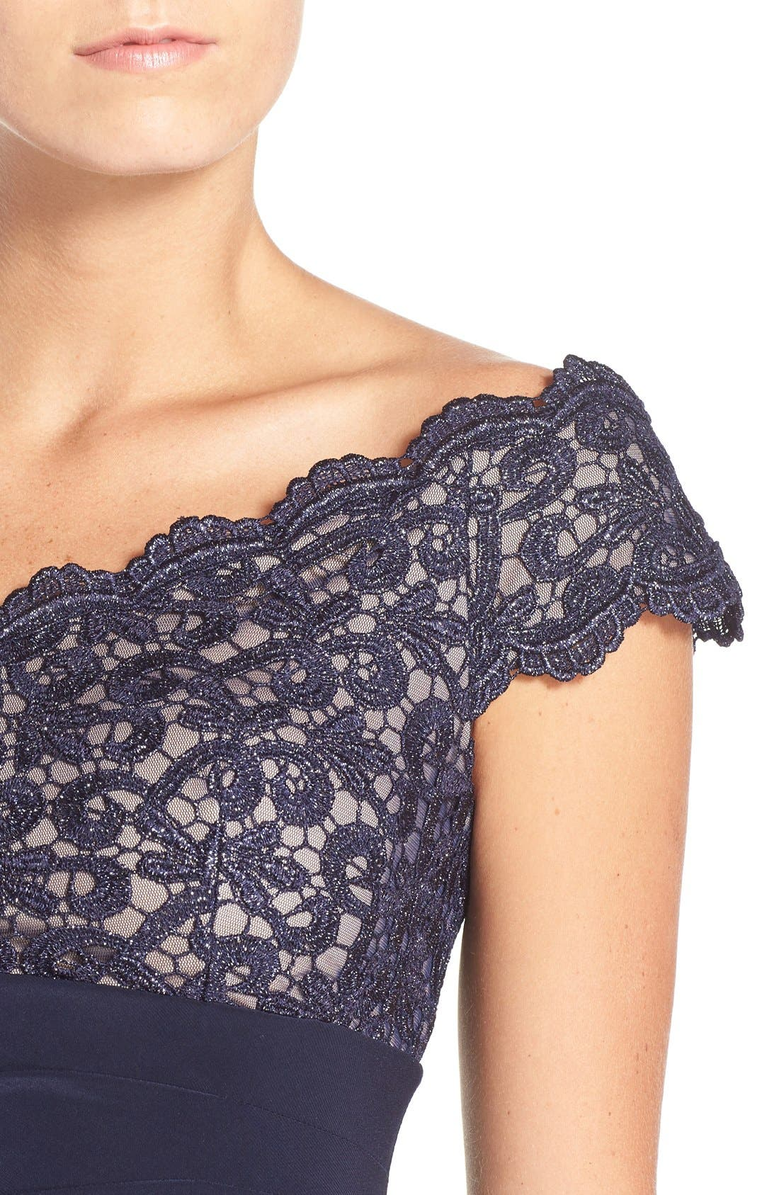 Alternate Image 5  - Xscape Lace & Jersey Off the Shoulder Sheath Dress (Petite)