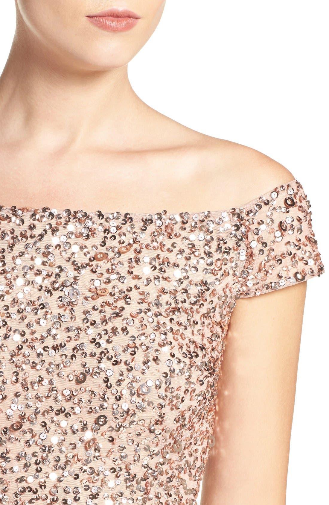 Alternate Image 5  - Adrianna Papell Off the Shoulder Sequin Sheath Dress (Regular & Petite)