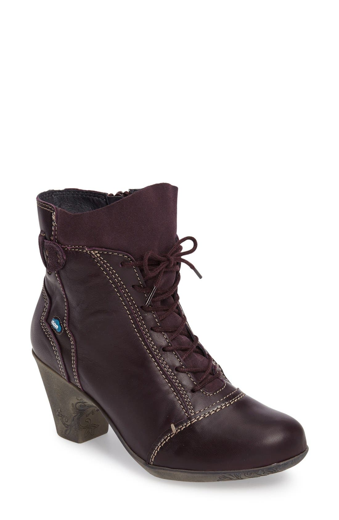 'Jesse' Lace-Up Bootie,                         Main,                         color, Aubergine Leather