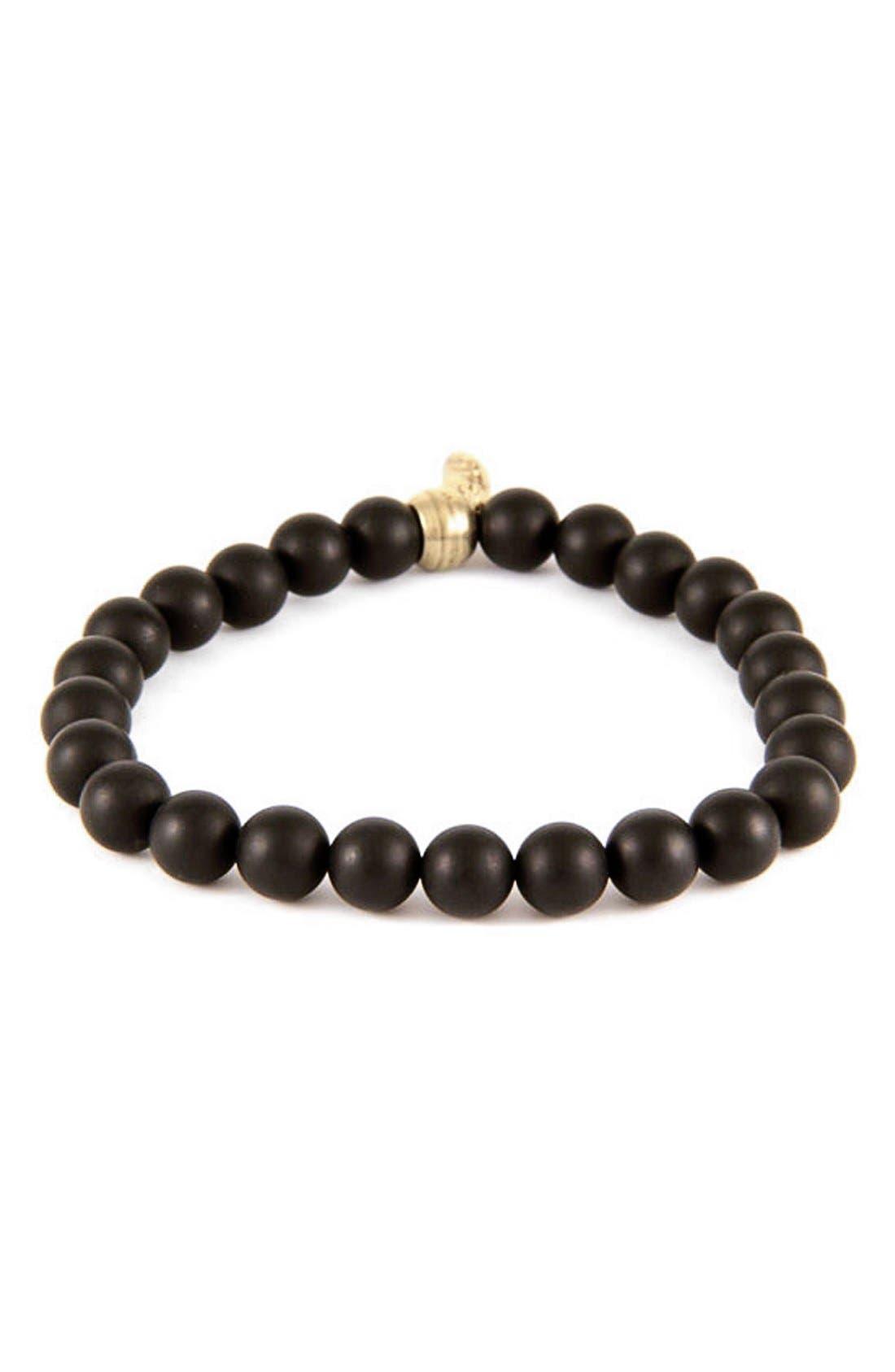 Mr. Ettika Agate Bead Bracelet,                         Main,                         color, Black
