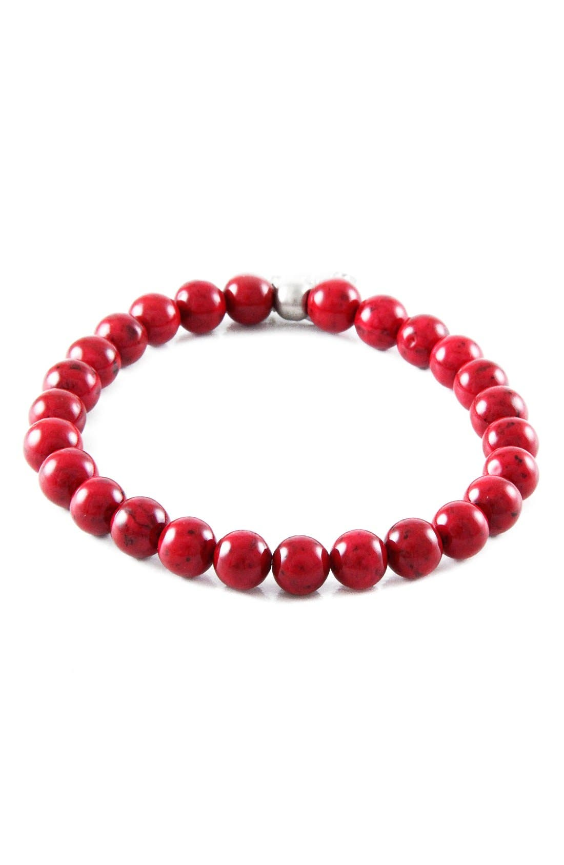 Red Jade Bead Bracelet,                         Main,                         color, Red