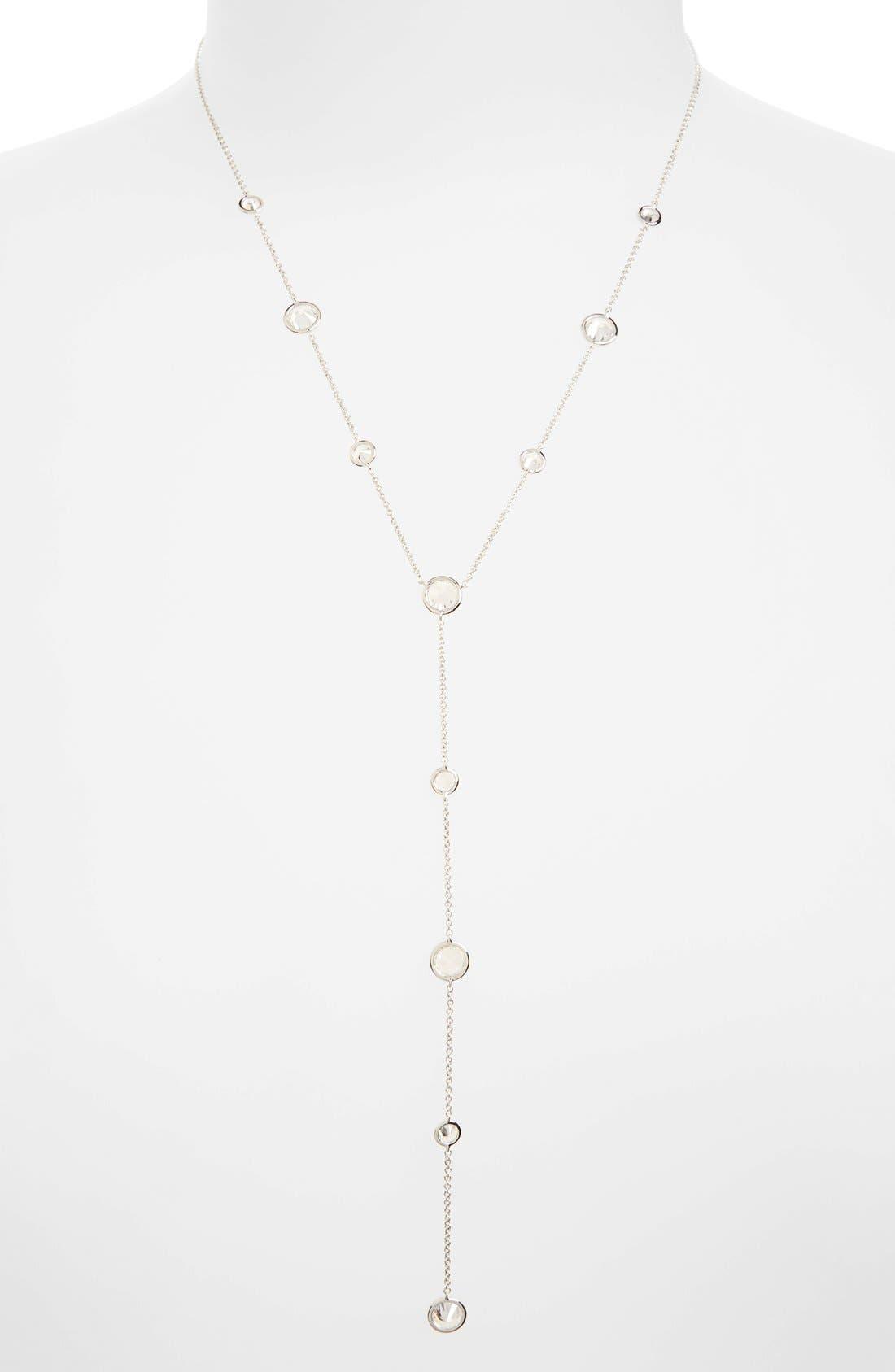 Cubic Zirconia Bezel Y-Necklace,                         Main,                         color, Silver