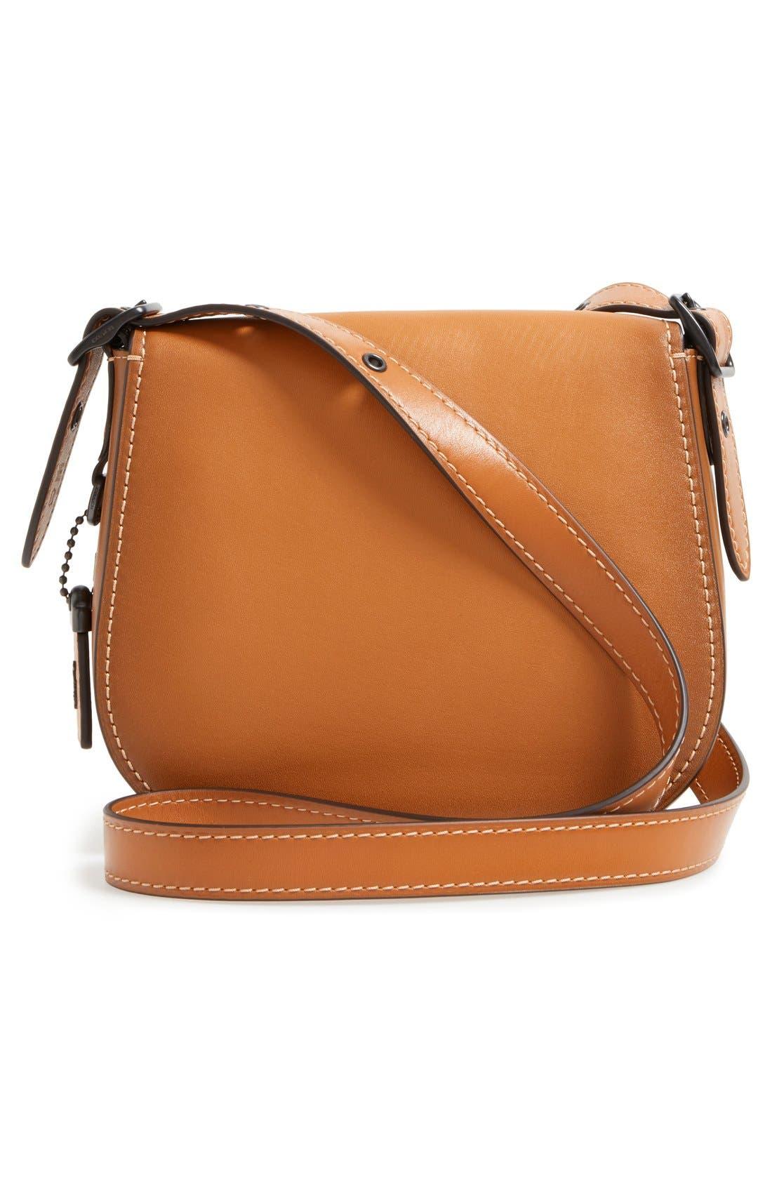 '23' Leather Saddle Bag,                             Alternate thumbnail 3, color,                             Butterscotch