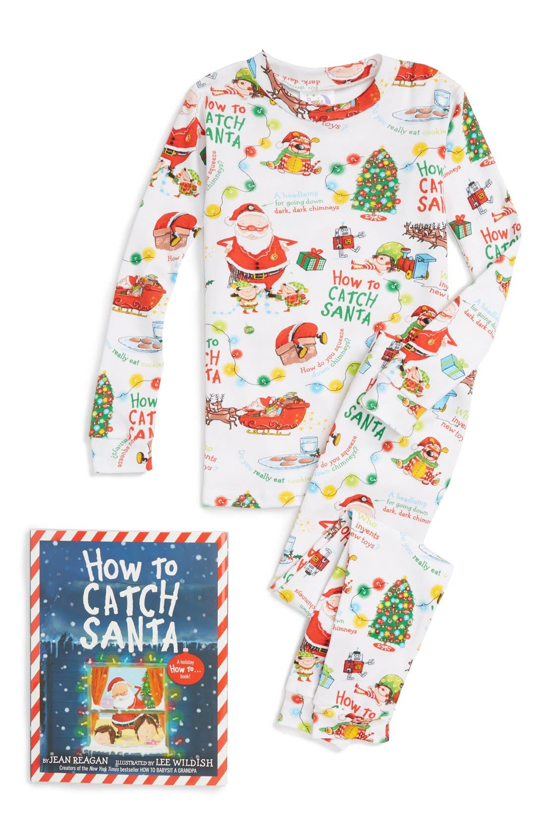 How to Catch a Santa Fitted Two-Piece Pajamas & Book Set,                             Main thumbnail 1, color,                             White