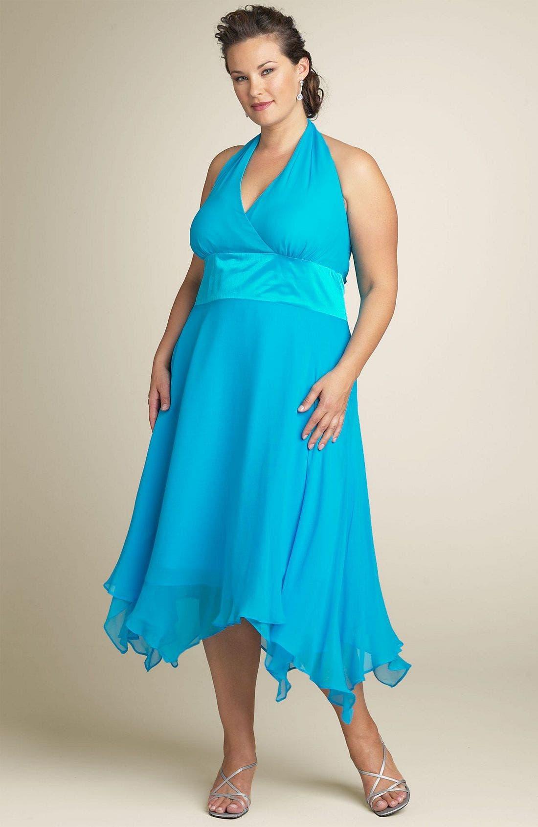 Alternate Image 1 Selected - Donna Ricco Halter Dress (Plus Size)