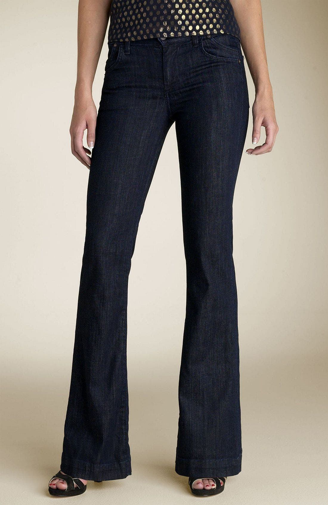 'Hutton' High Rise Wide Leg Stretch Denim Trousers,                             Alternate thumbnail 2, color,                             Dark Paris