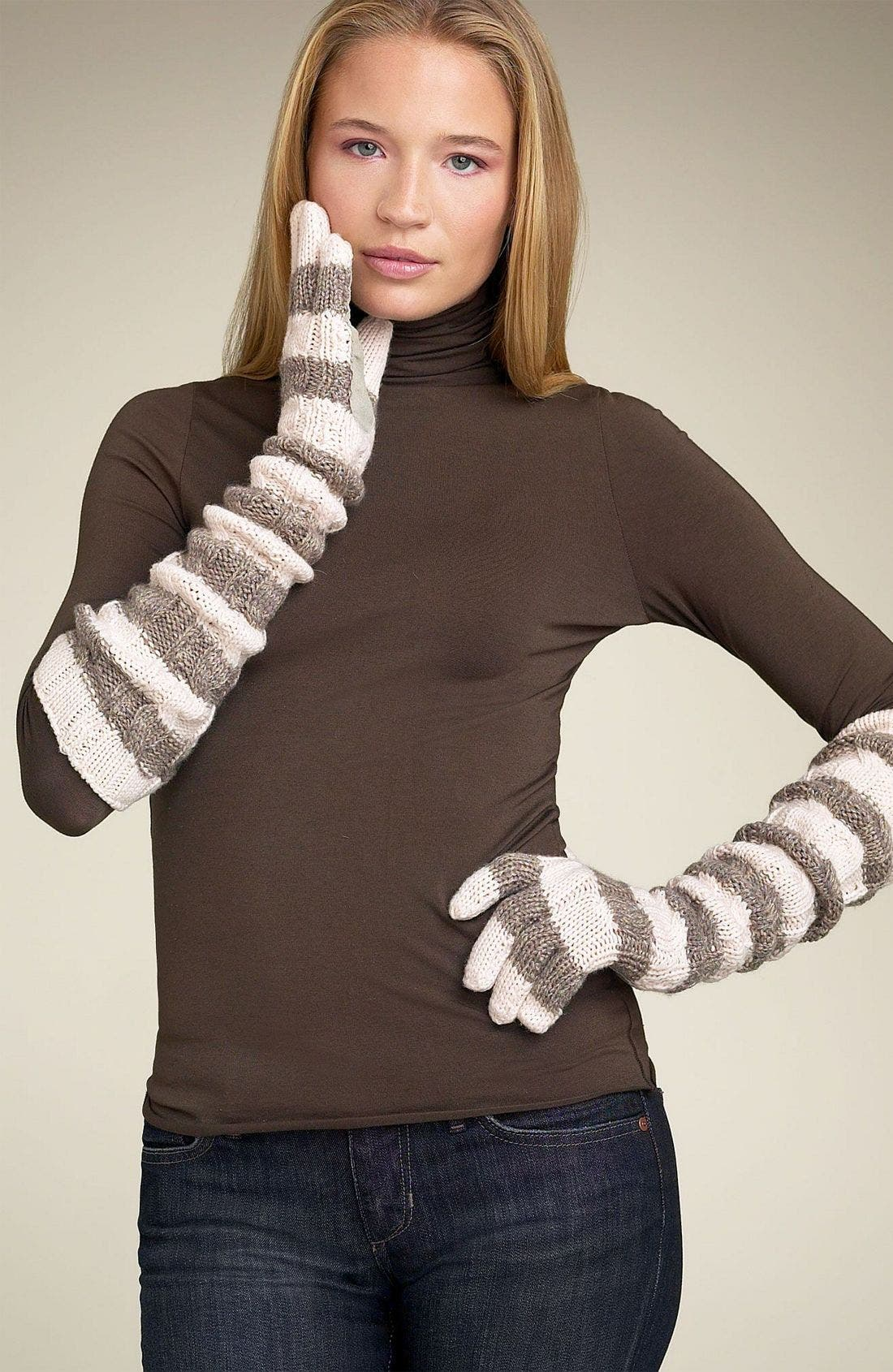 Alternate Image 1 Selected - Juicy Couture Long Stripe Cabled Gloves