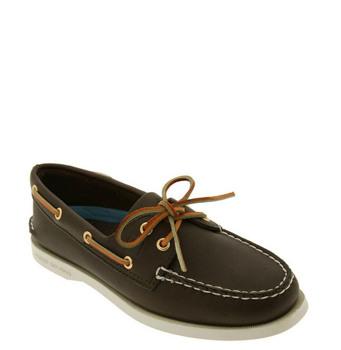 'Authentic Original' Boat Shoe,                             Main thumbnail 1, color,                             Brown