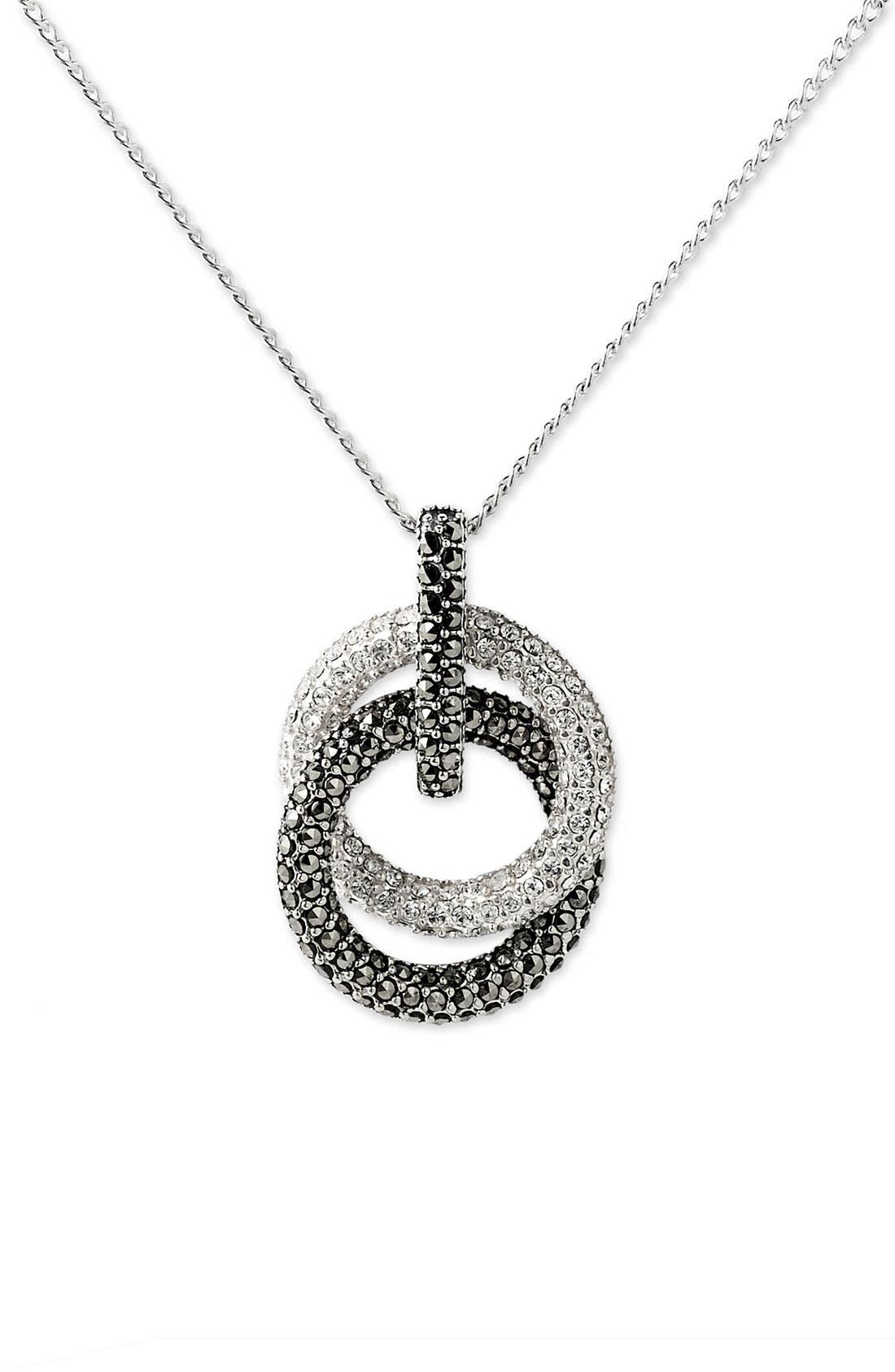 Judith Jack Pavé Double Circle Pendant Necklace