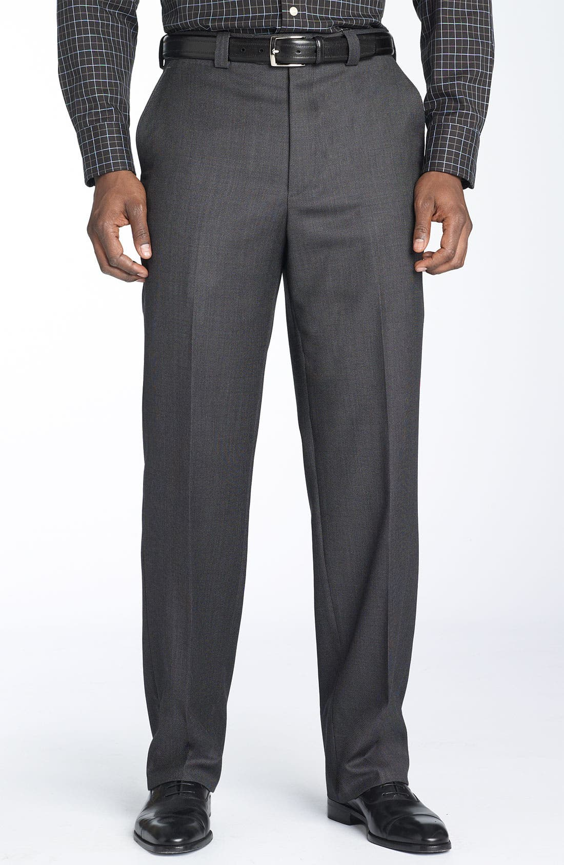 Alternate Image 1 Selected - Linea Naturale 'Tic Weave' Super 100s Wool Trousers