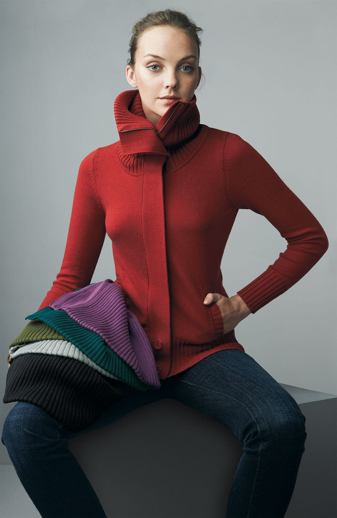 Alternate Image 2  - Caslon® Oversized Collar Cardigan