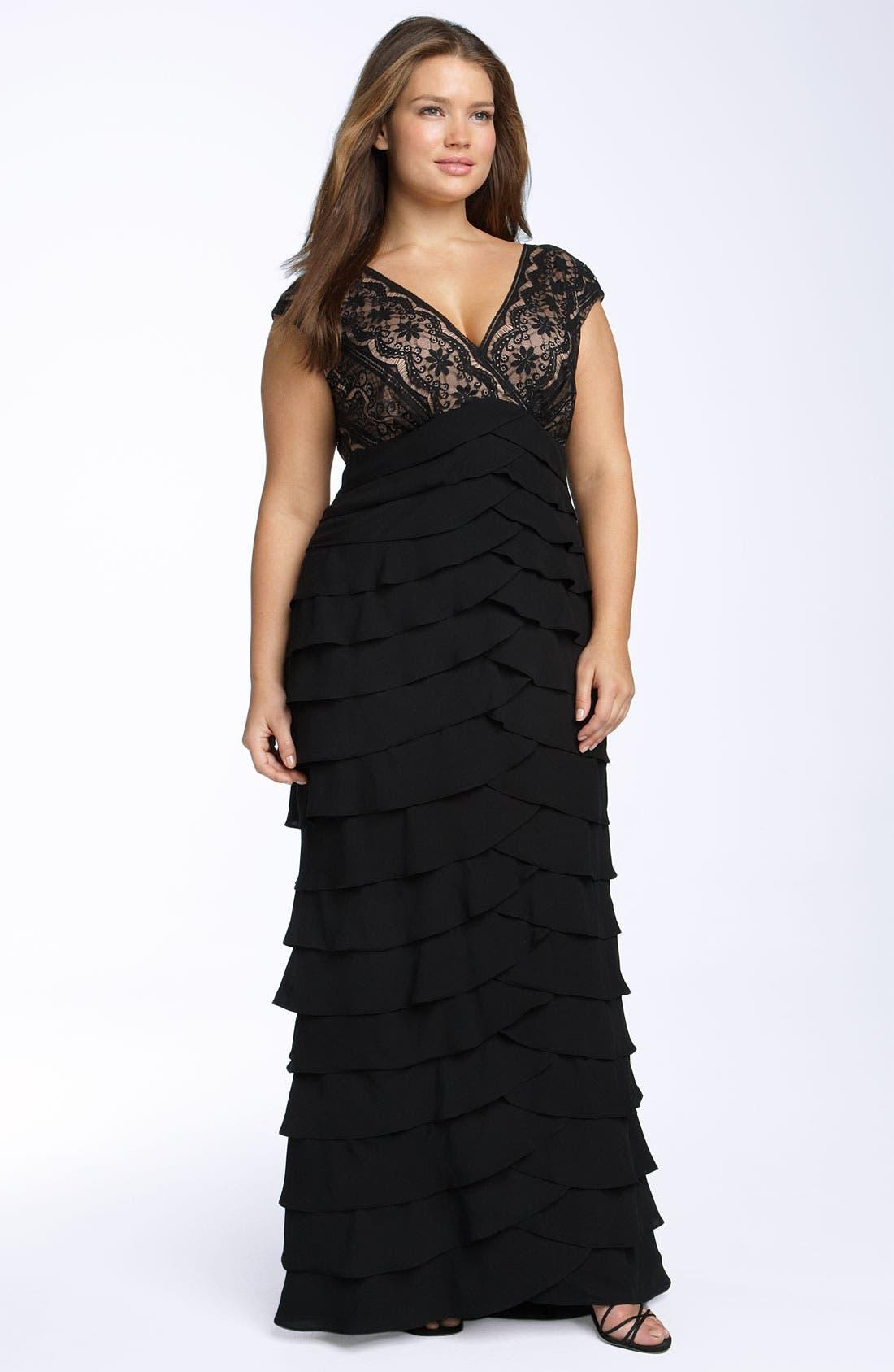 Lace & Shutter Pleat Gown,                             Main thumbnail 1, color,                             Black