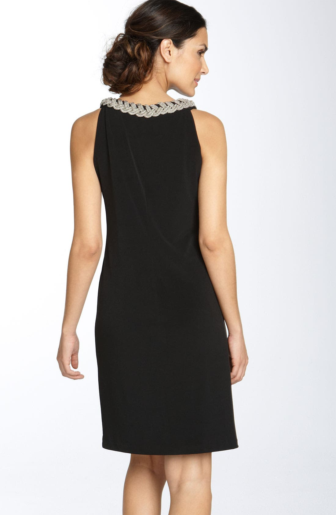 Alternate Image 2  - Donna Ricco Chain Neck Matte Jersey Shift Dress