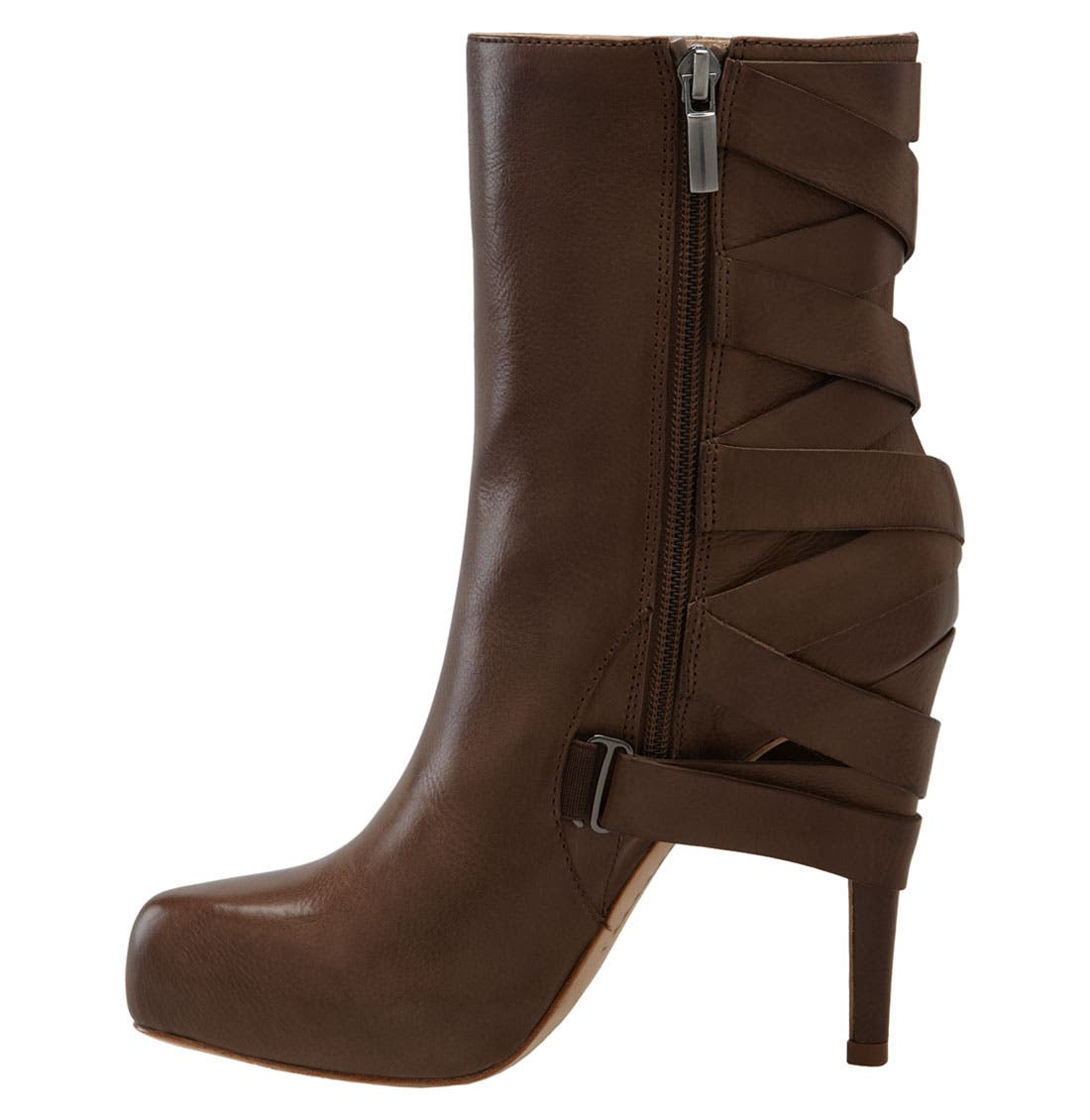 'Strut' Ankle Boot,                             Alternate thumbnail 4, color,                             Brown