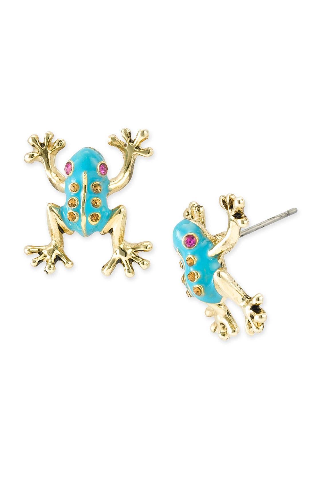 Alternate Image 1 Selected - Betsey Johnson Frog Stud Earrings