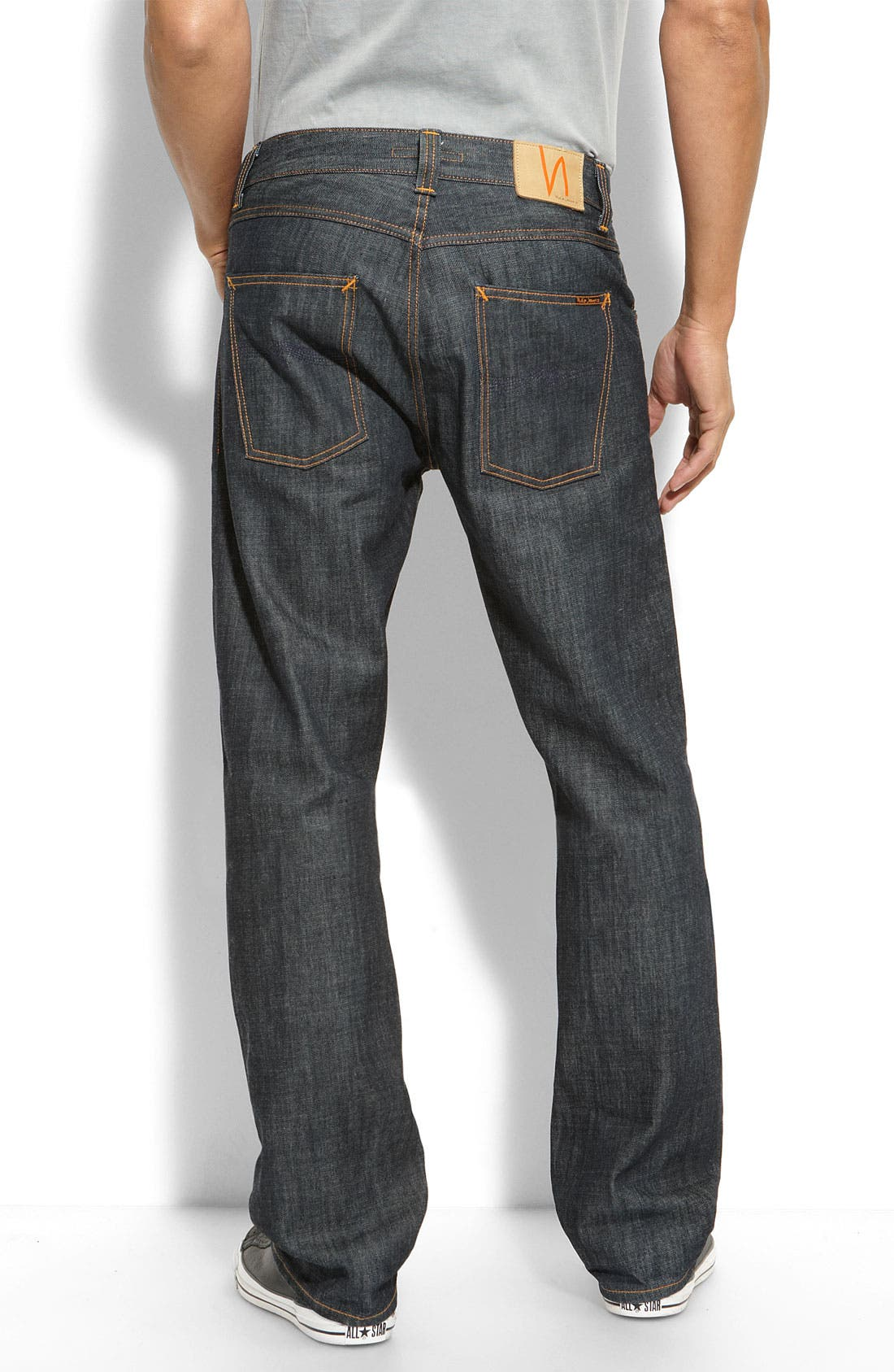 Alternate Image 1 Selected - Nudie 'Easy Emil' Relaxed Straight Leg Raw Jeans (Dry Organic Blue Wash)