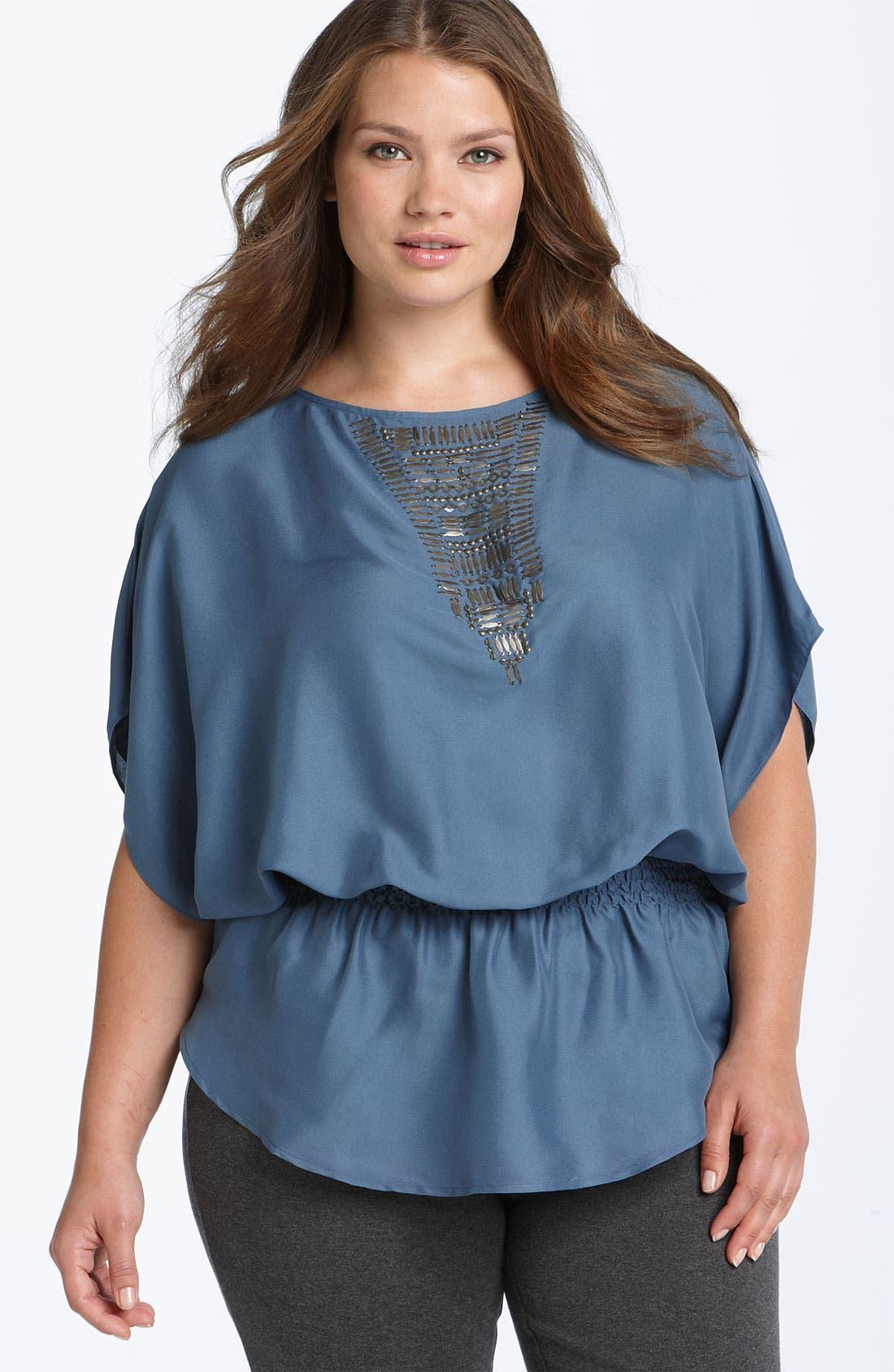 Main Image - Calvin Klein Embellished Top (Plus)