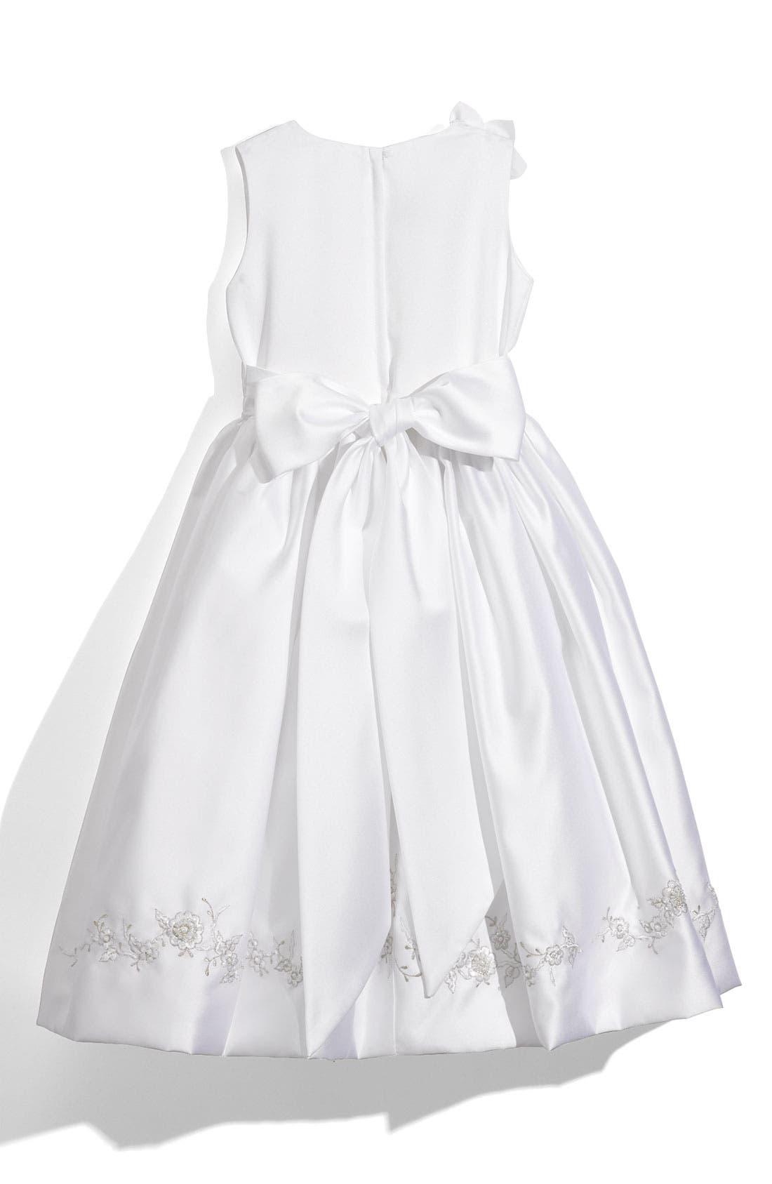Alternate Image 2  - Joan Calabrese for Mon Cheri Sleeveless Satin Dress (Big Girls)