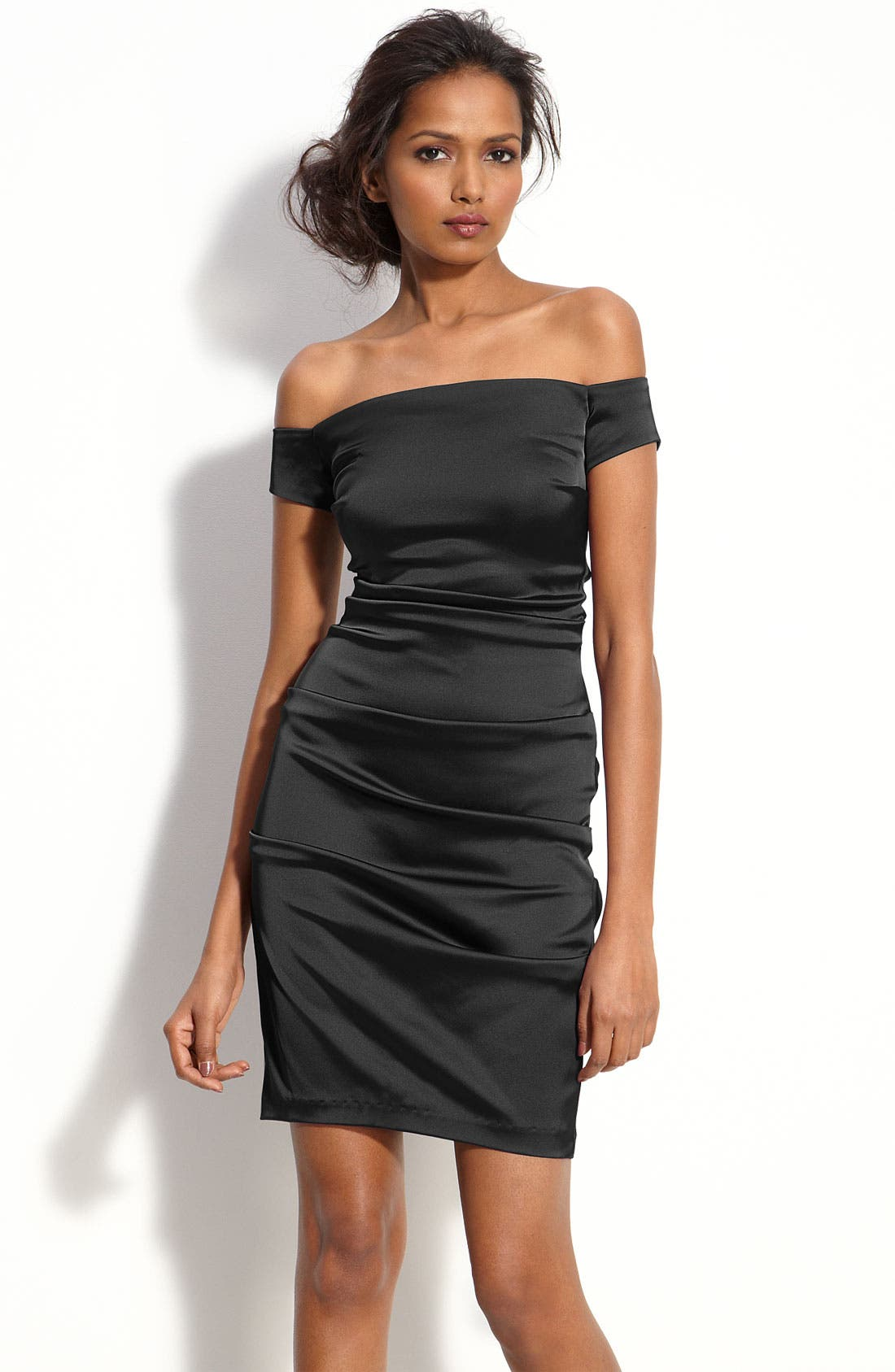 Alternate Image 1 Selected - Betsy & Adam Off Shoulder Stretch Satin Sheath Dress