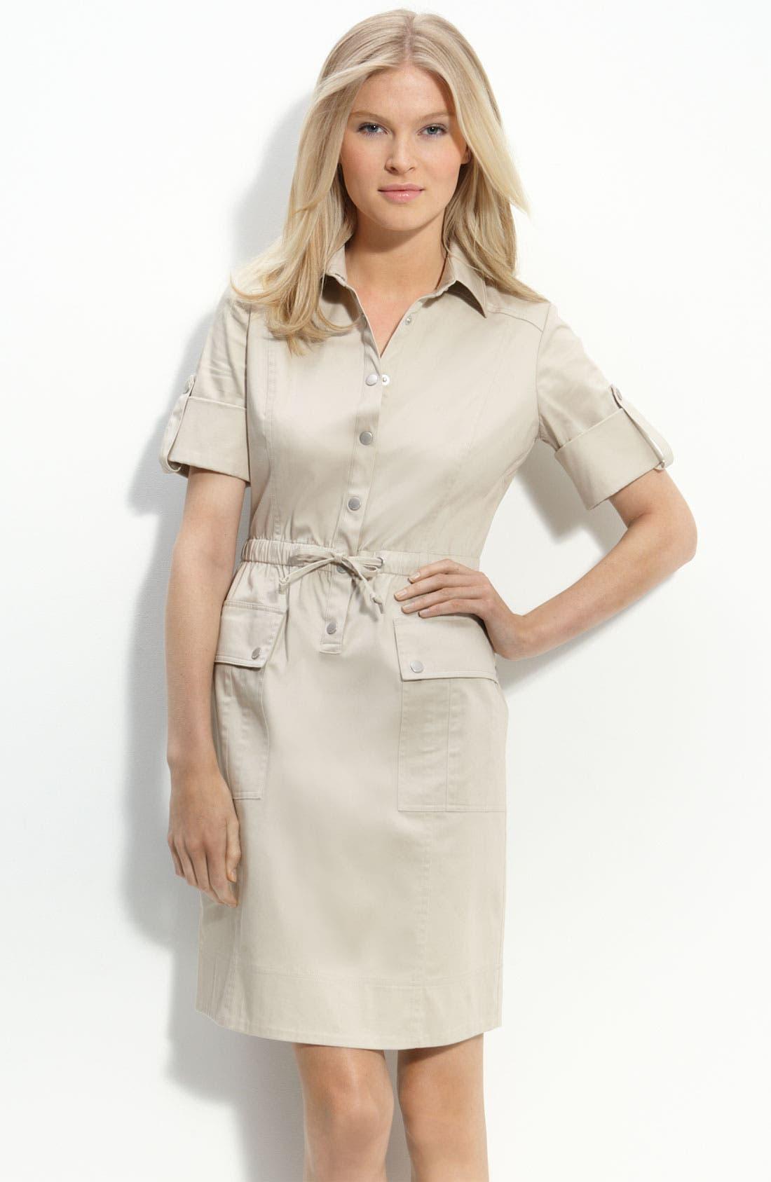 Alternate Image 1 Selected - Calvin Klein Drawstring Waist Stretch Cotton Shirtdress