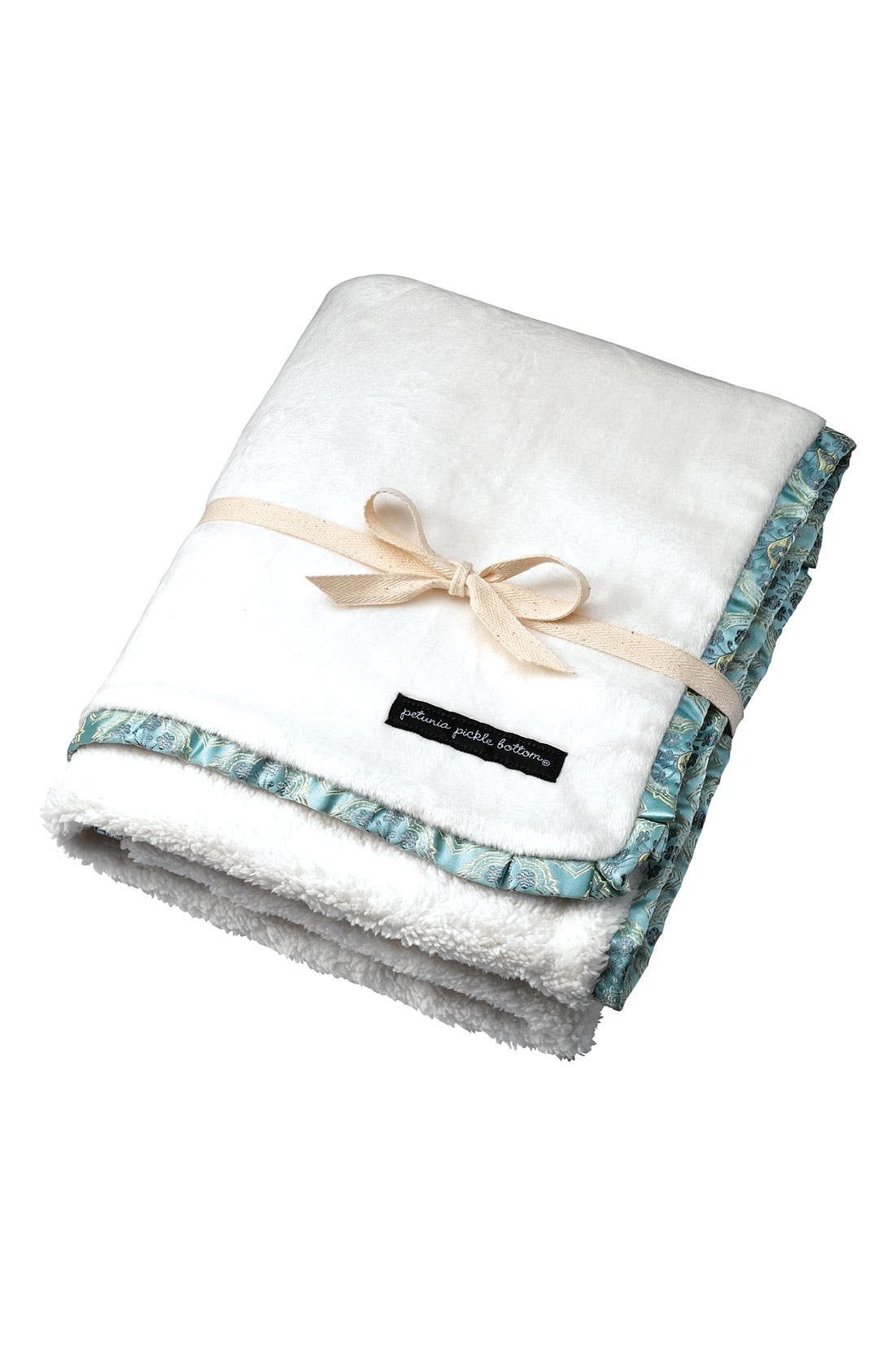 Alternate Image 1 Selected - Petunia Pickle Bottom Brocade Trim Receiving Blanket