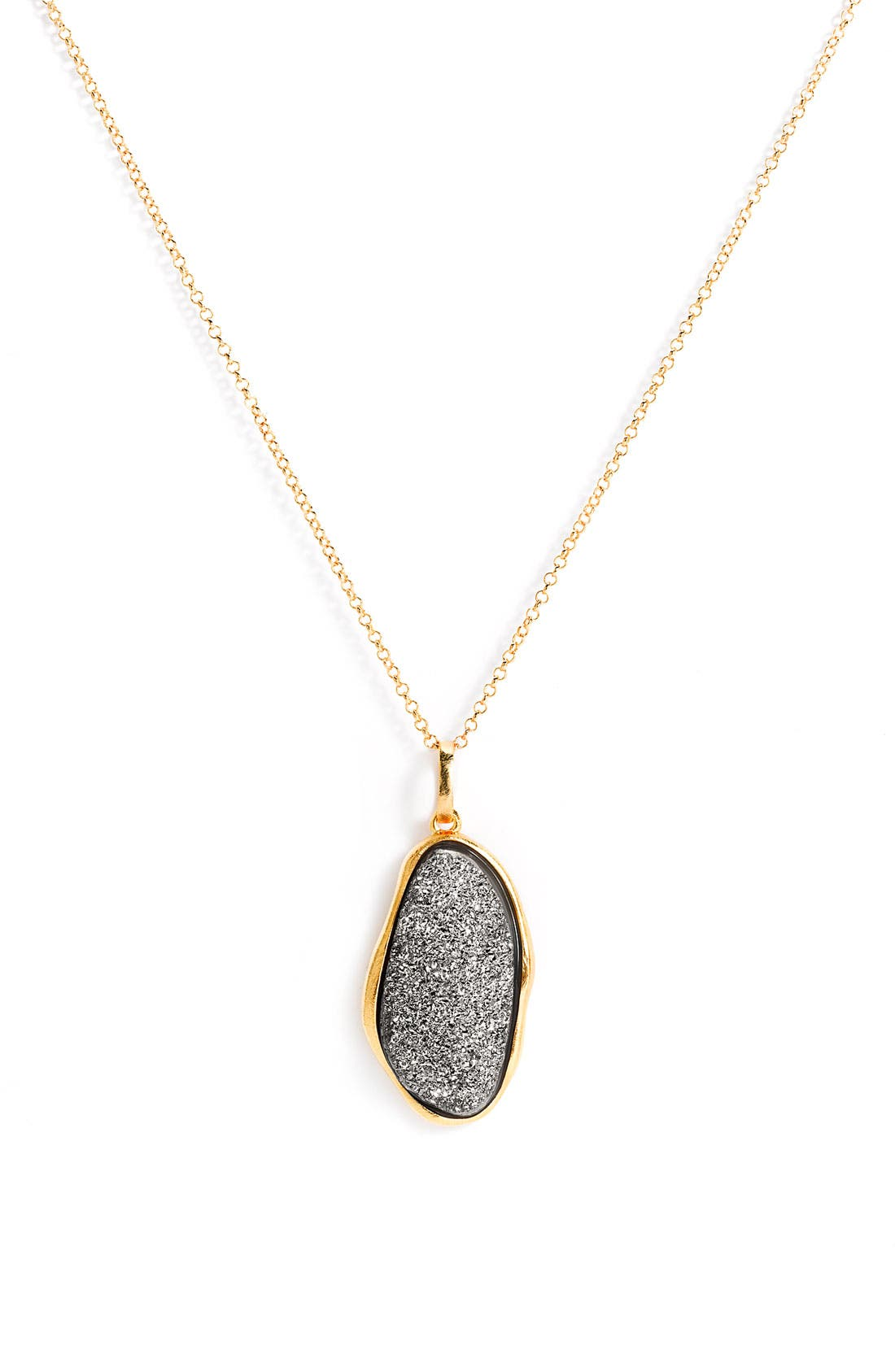 Main Image - Marcia Moran Oval Drusy Long Pendant Necklace