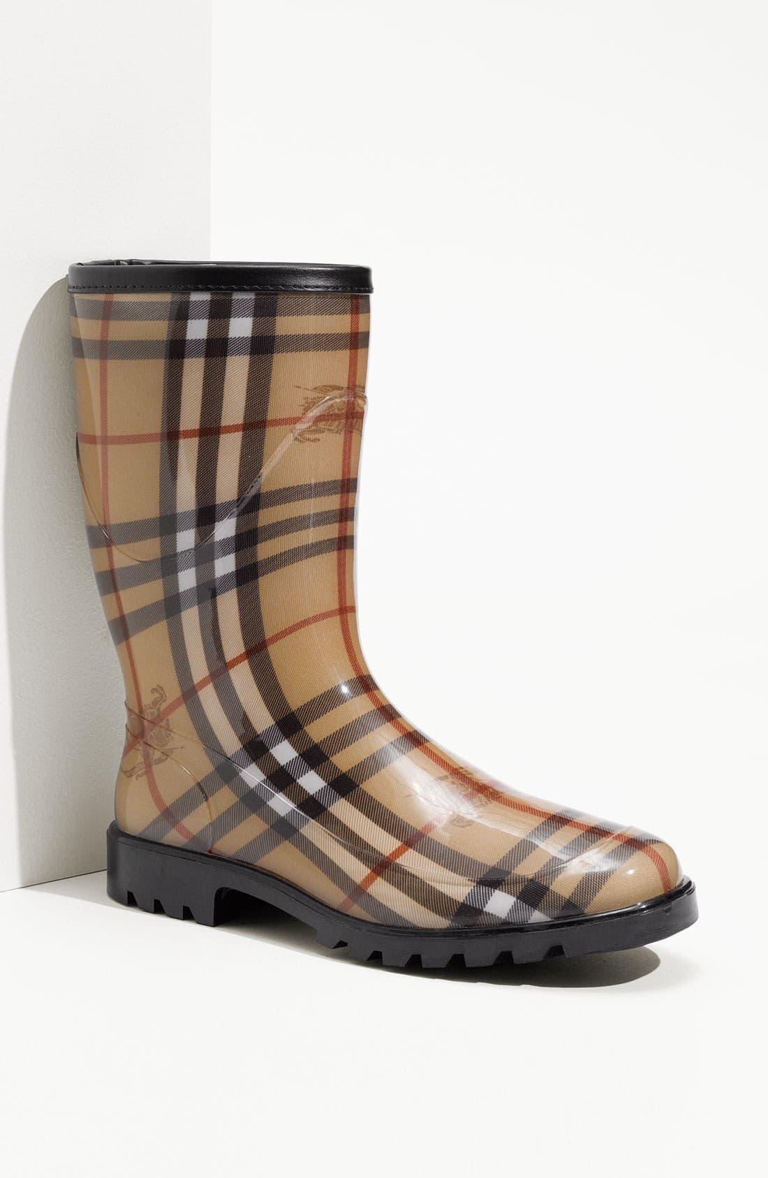 Main Image - Burberry Check Print Rain Boot