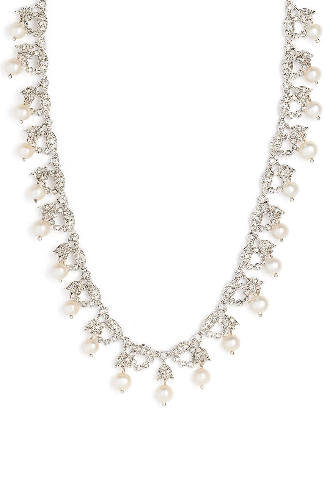 Alternate Image 1 Selected - CZ by Kenneth Jay Lane Glass Pearl Garland Necklace