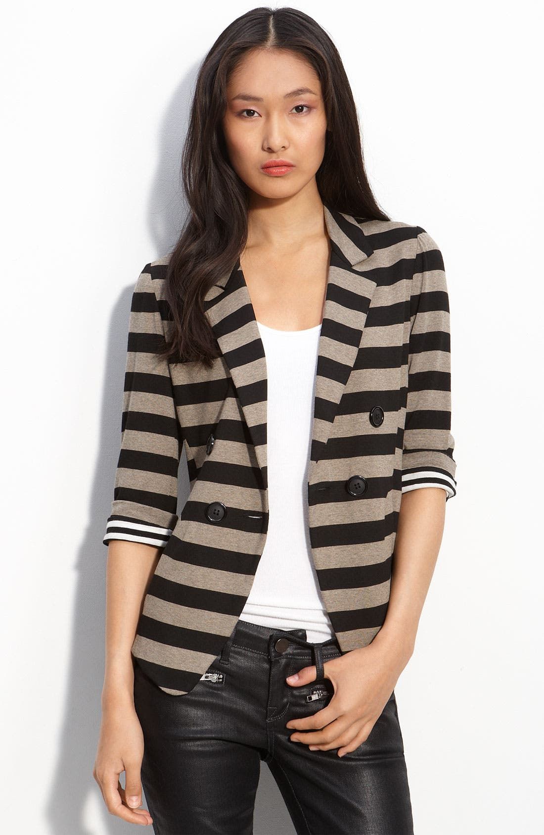 'Joie de Vivre' Knit Jacket,                             Main thumbnail 1, color,                             Trench Stripe