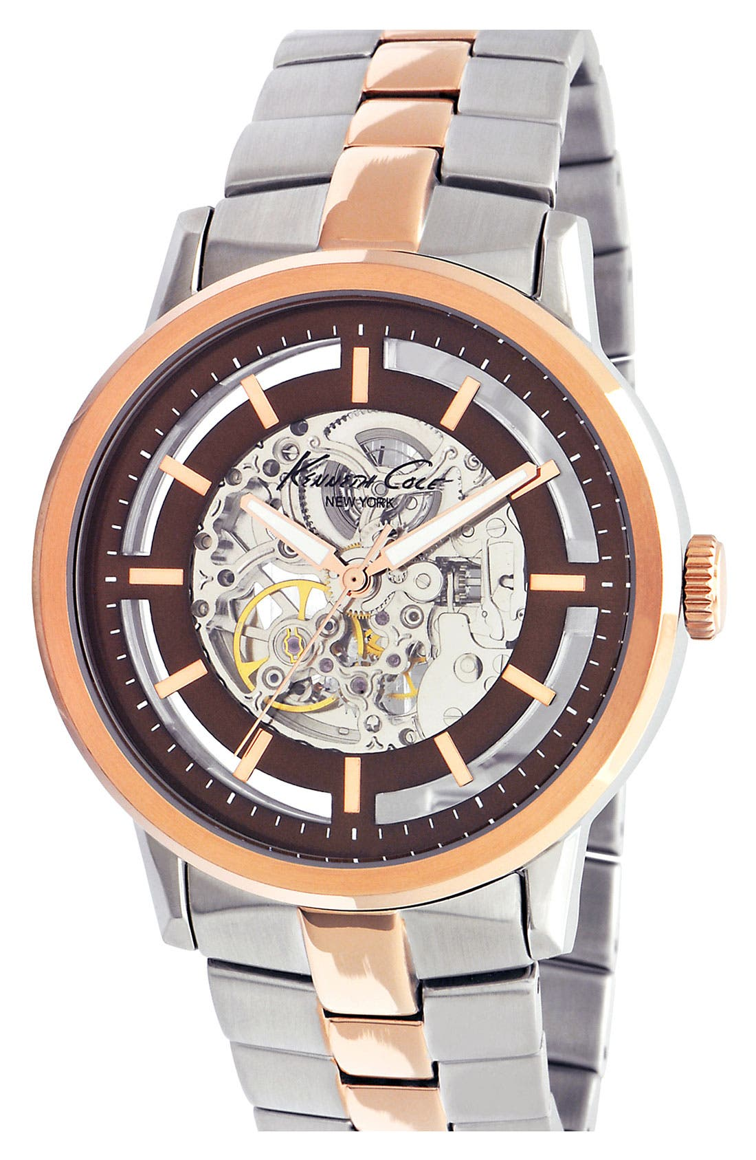 Main Image - Kenneth Cole New York Automatic Two Tone Bracelet Watch