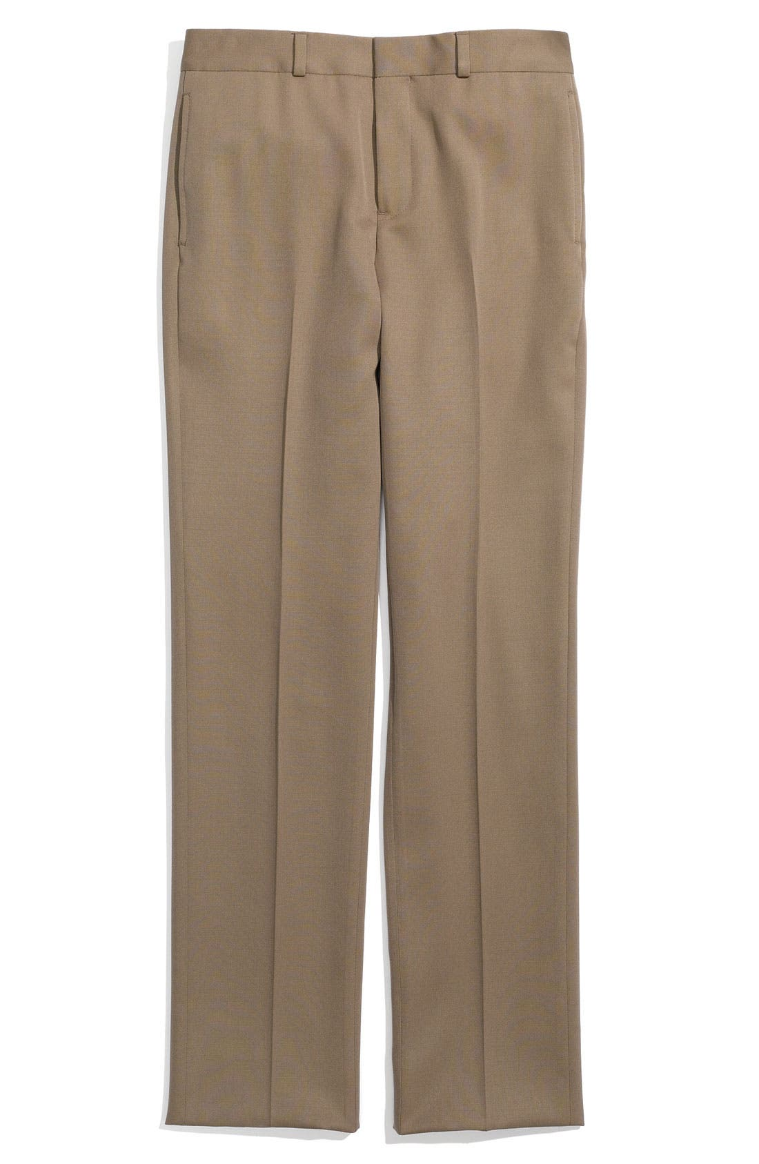 Main Image - Brooks Brothers Flat Front Wool Trousers (Big Boys)