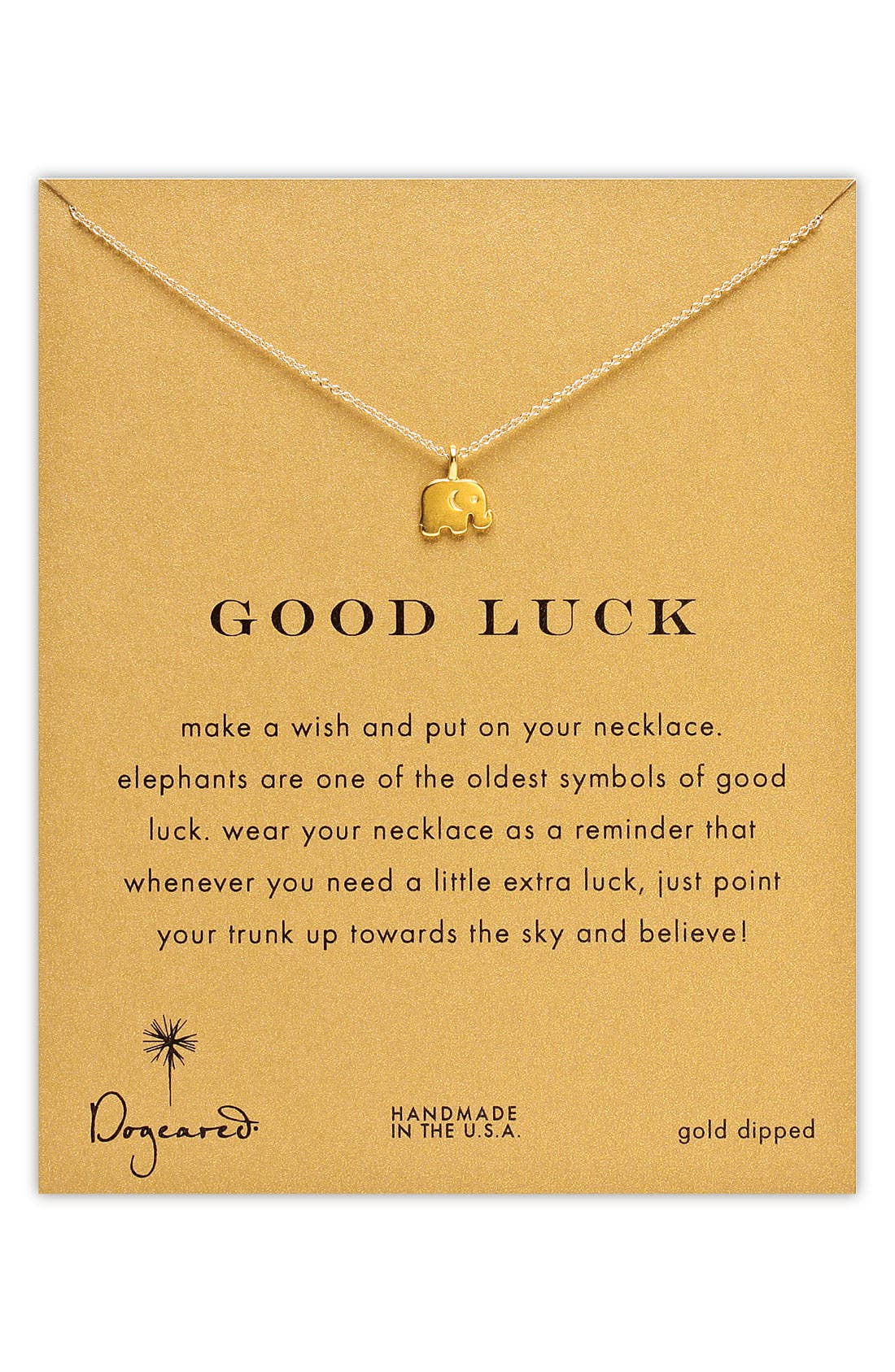 Main Image - Dogeared 'Reminder - Good Luck' Elephant Necklace
