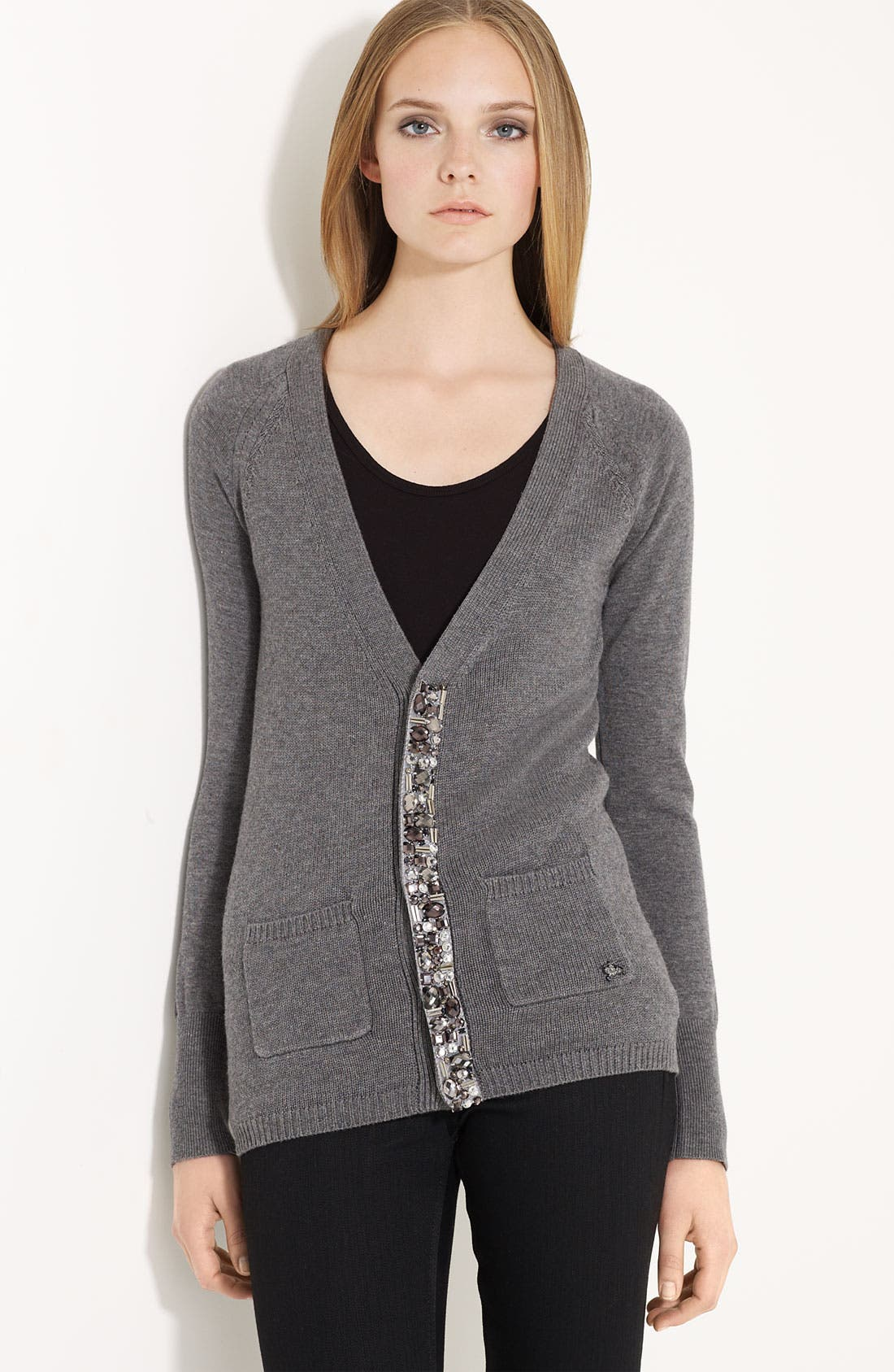 Main Image - Burberry London Embellished Wool Blend Cardigan