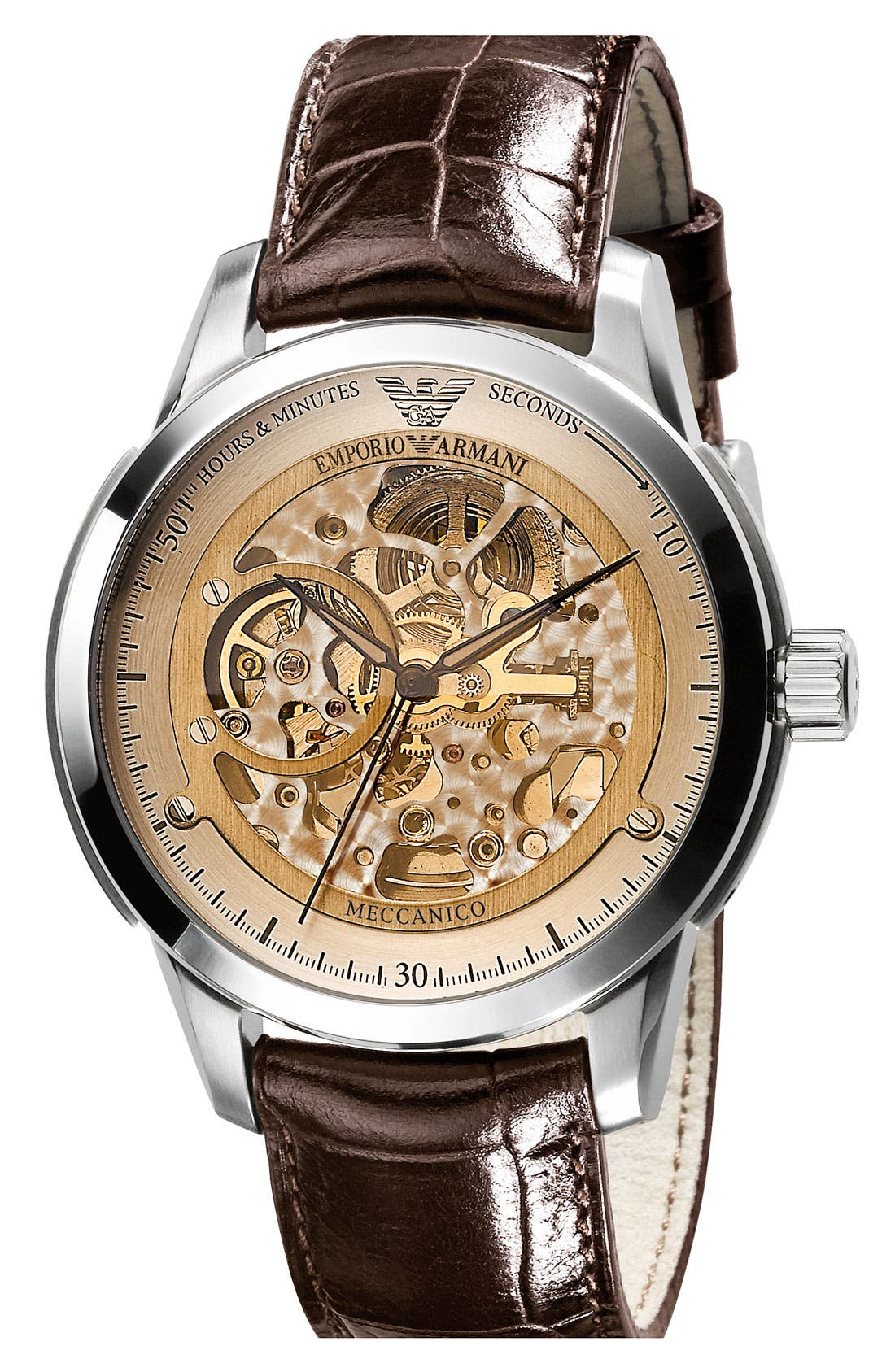 Alternate Image 1 Selected - Emporio Armani 'Meccanico' Automatic Round Watch