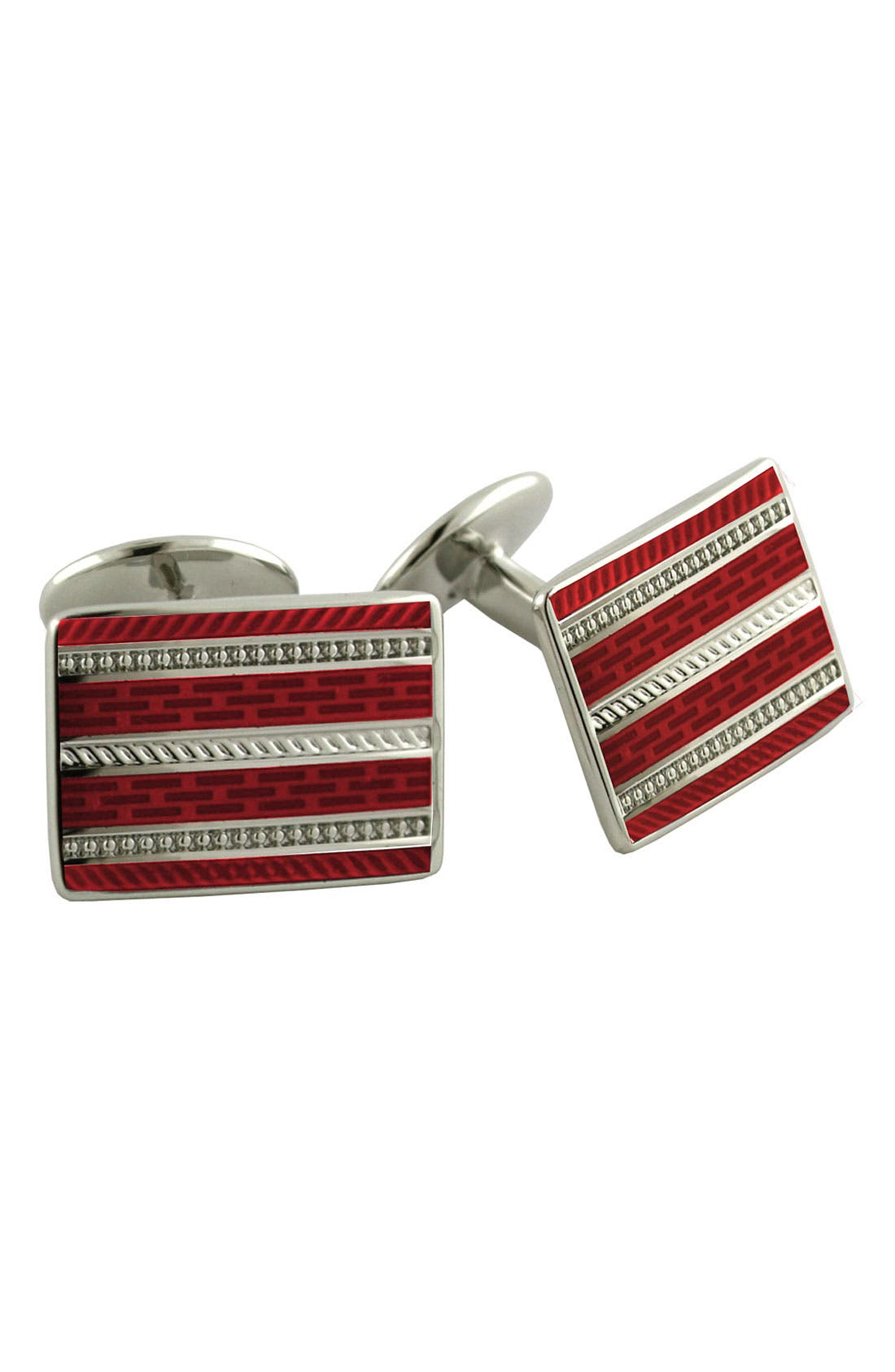 Main Image - David Donahue 'Wine' Rectangular Sterling Silver Cuff Links