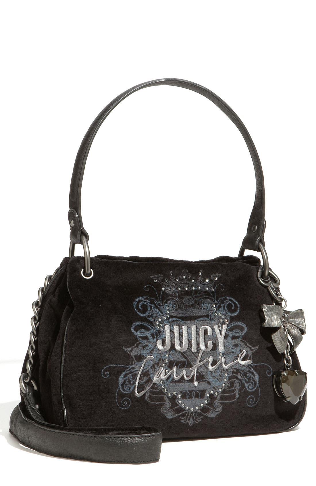 'Her Royal Highness - New Fluffy' Velour Bag,                             Main thumbnail 1, color,                             Black