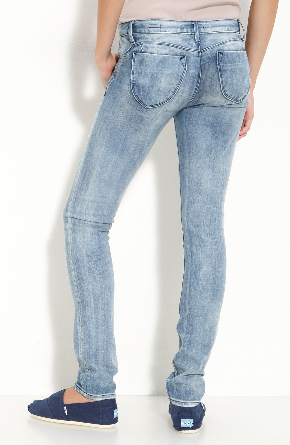 Alternate Image 1 Selected - Vigoss '88' Stretch Denim Skinny Jeans (Light Wash) (Juniors)