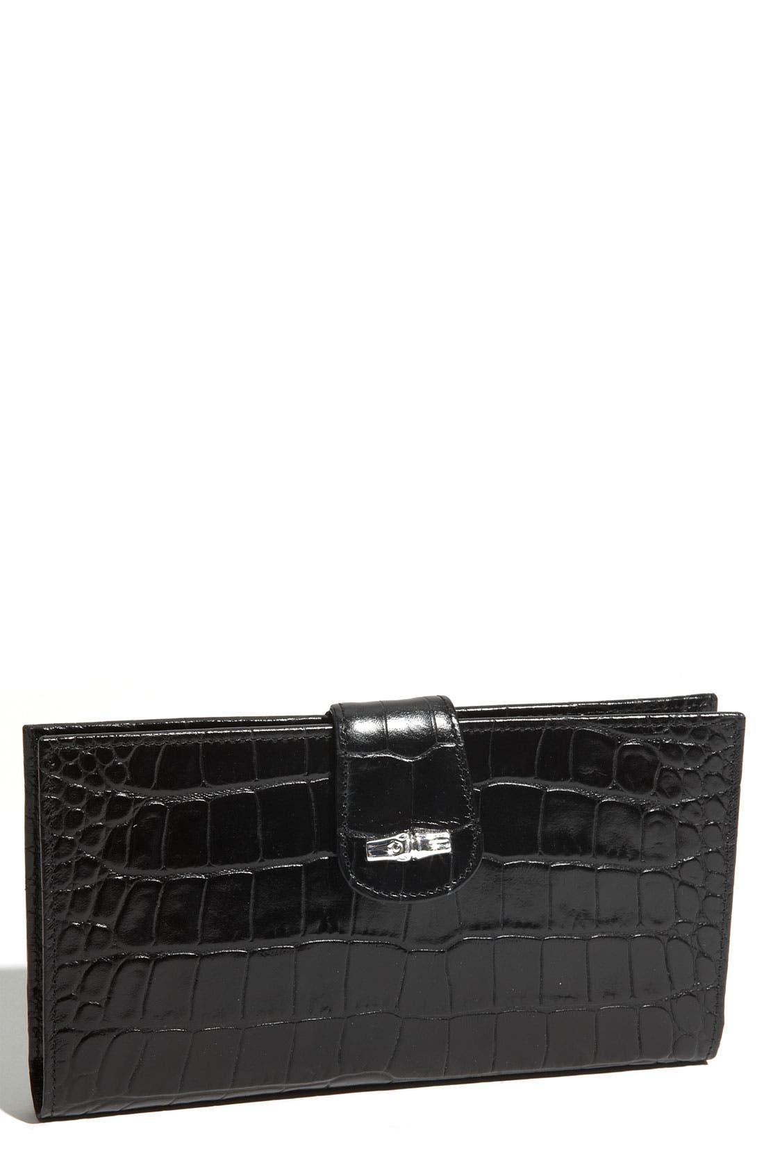 'Roseau' Croc Embossed Check Holder,                         Main,                         color, Black