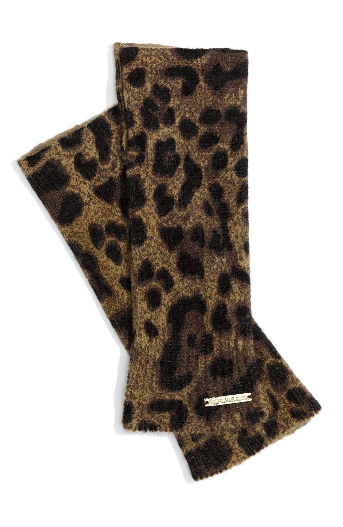 Main Image - MICHAEL Michael Kors Leopard Print Hand Warmers