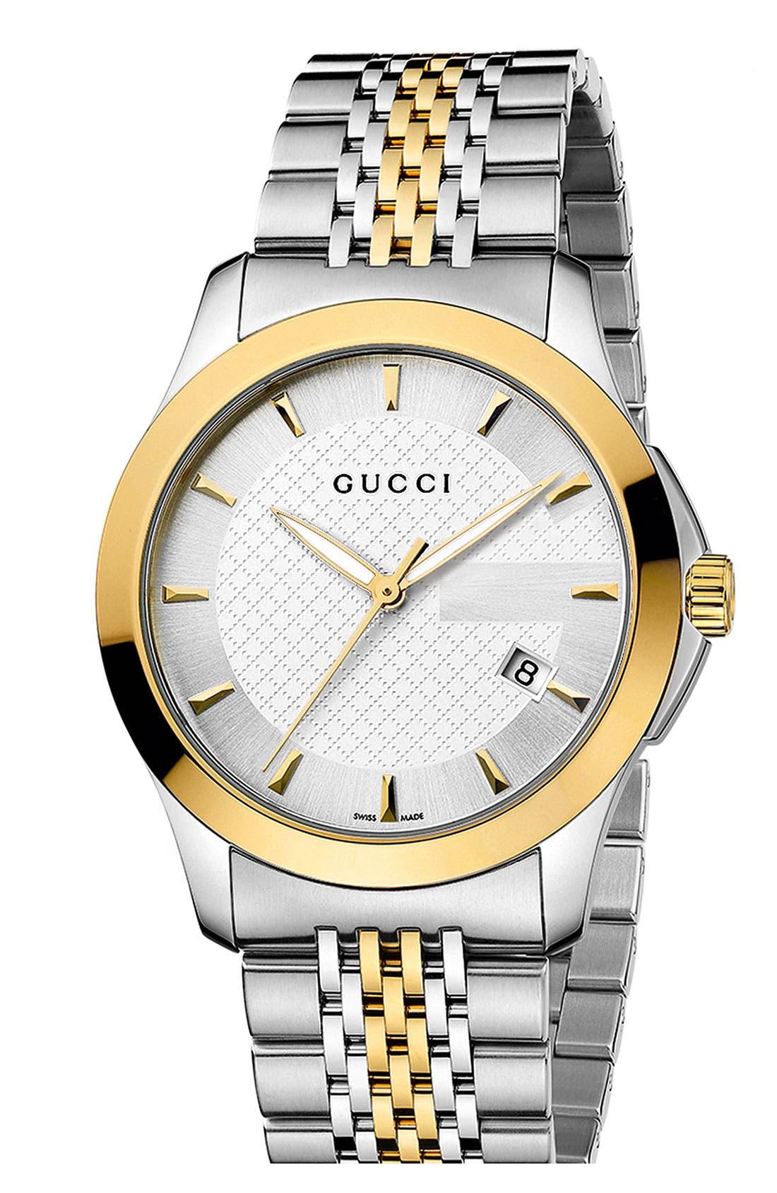 Alternate Image 1 Selected - Gucci 'G Timeless' Medium Bracelet Watch, 38mm